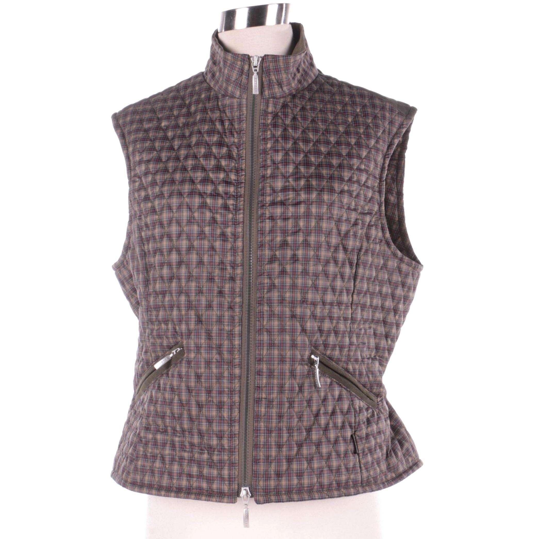 Women's Barbour Green Plaid Polyester Blend Vest