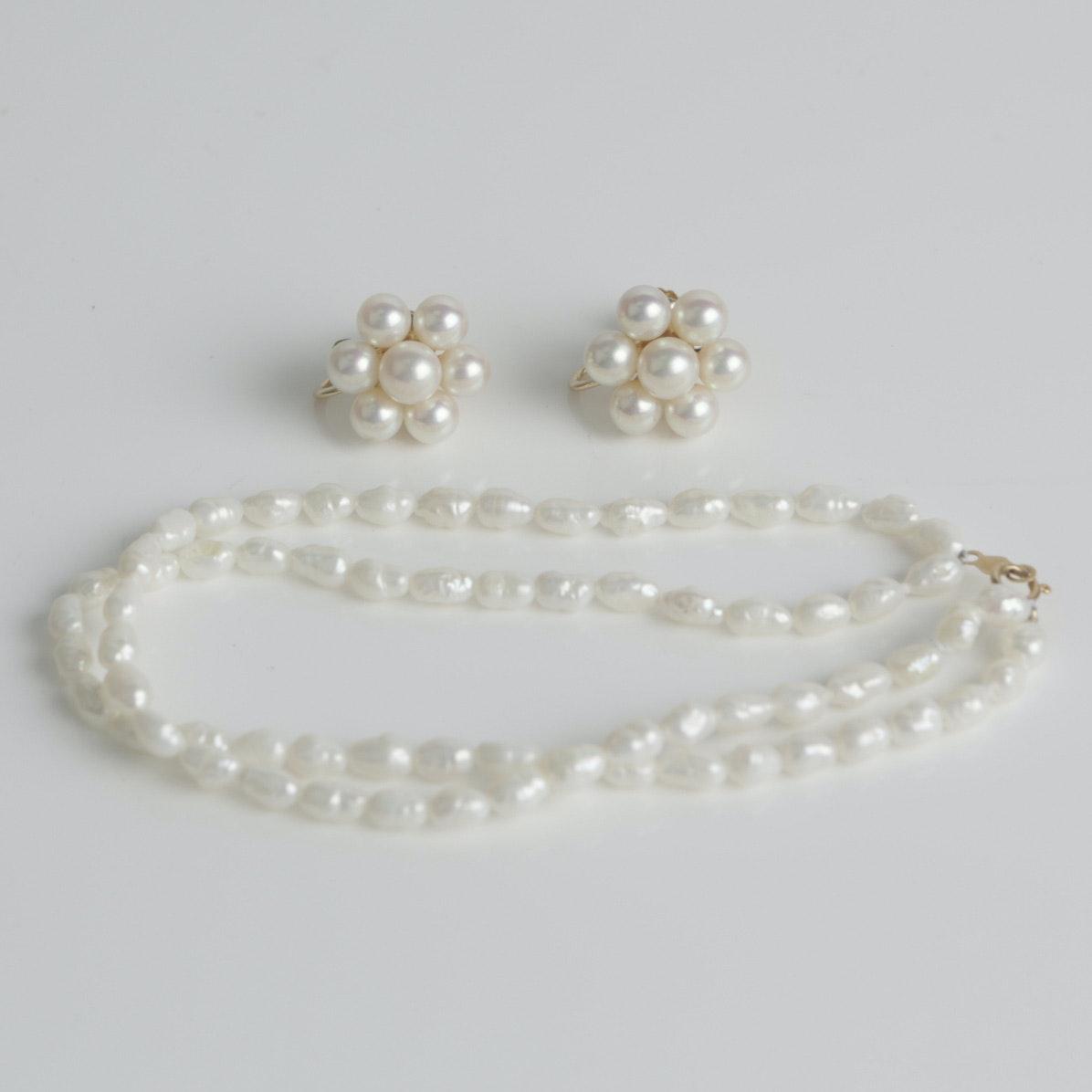 1950s 14K Yellow Gold Freshwater Pearl Bracelet and Earrings