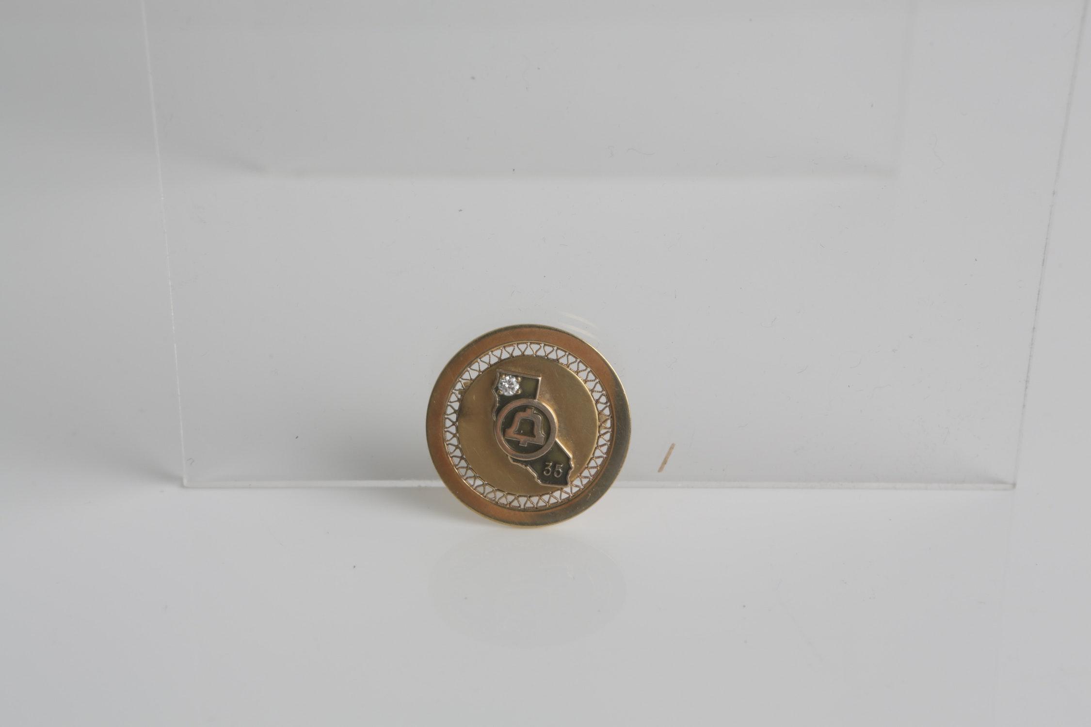 Vintage 12K Yellow Gold Filled Diamond Brooch