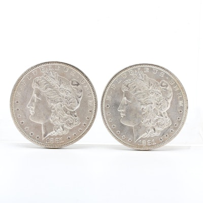 Two 1881-S Morgan Silver Dollars