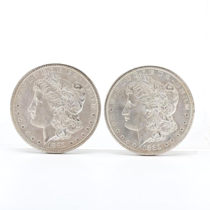Two 1881-S Morgan Silver Dollars