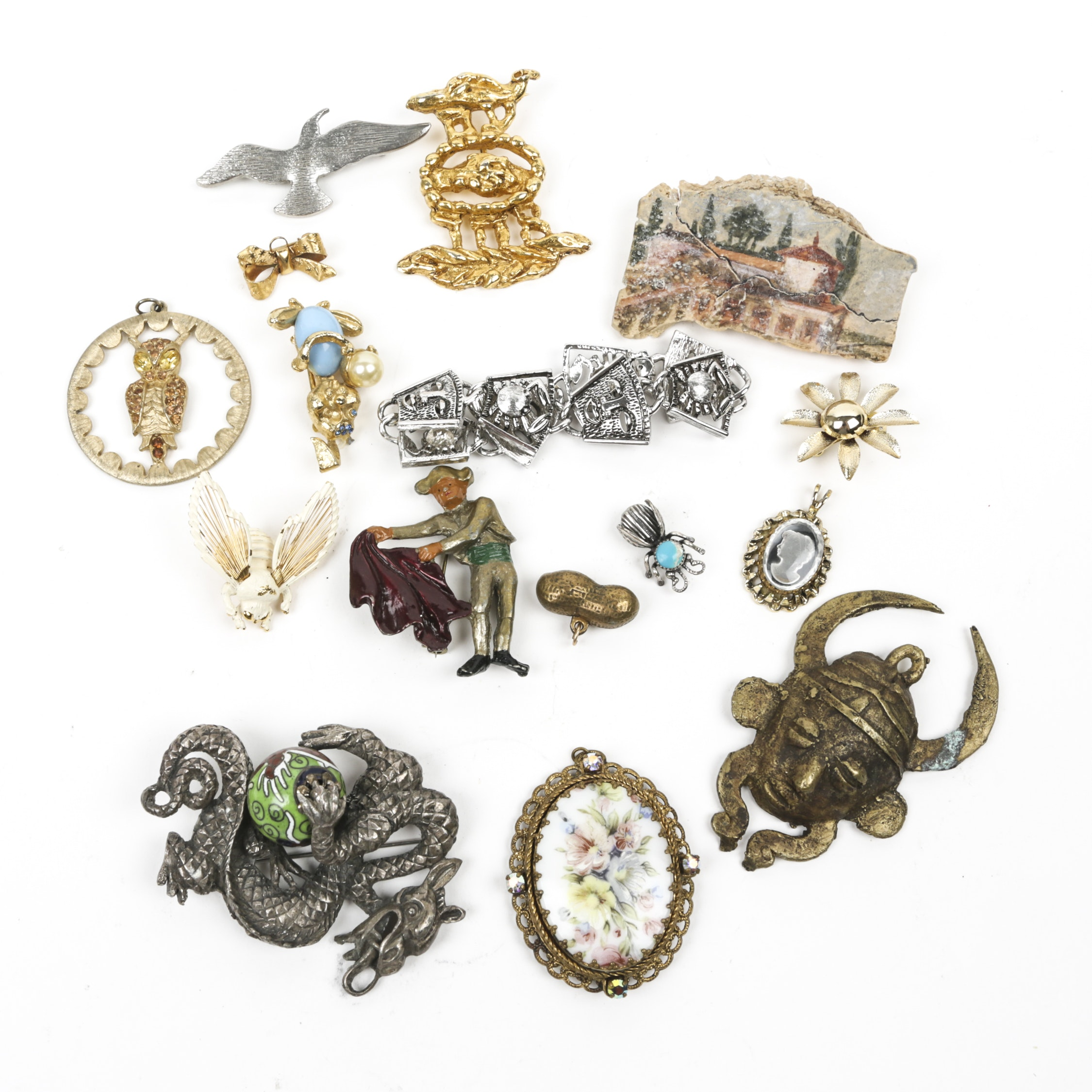 Vintage Figural Brooches Including Rhinestone, Intaglio and Cloisonné Enamel