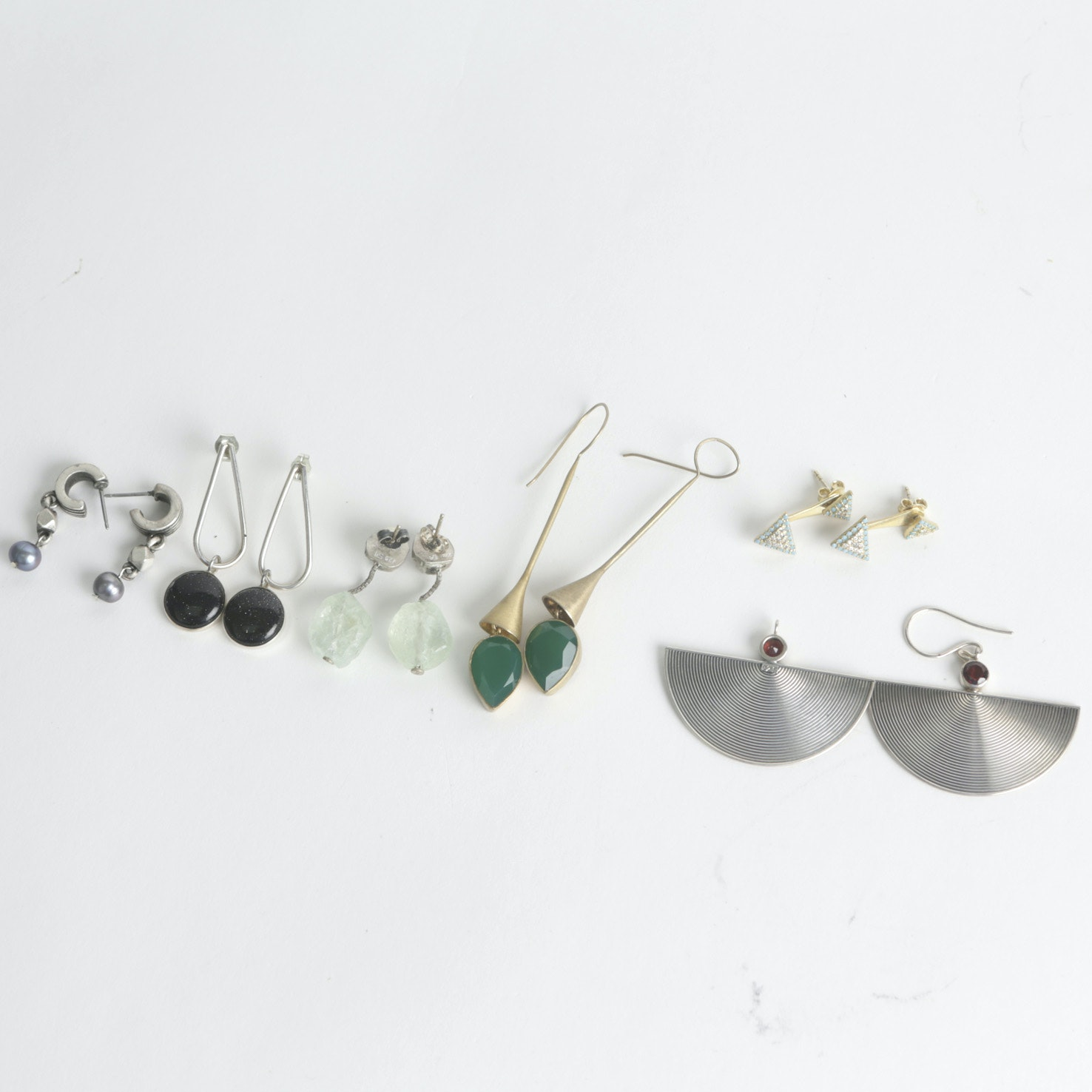Sterling and 900 Silver Modernist Earring Collection