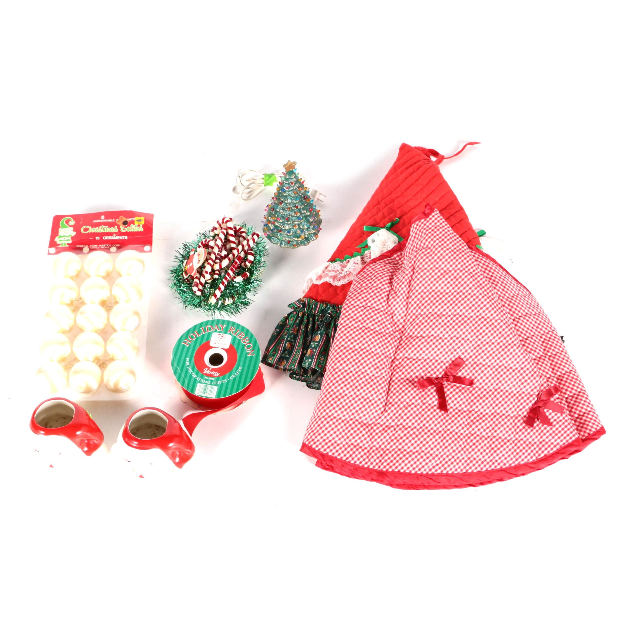 Holiday Decorations, Mugs, Ribbons and Tree Skirts