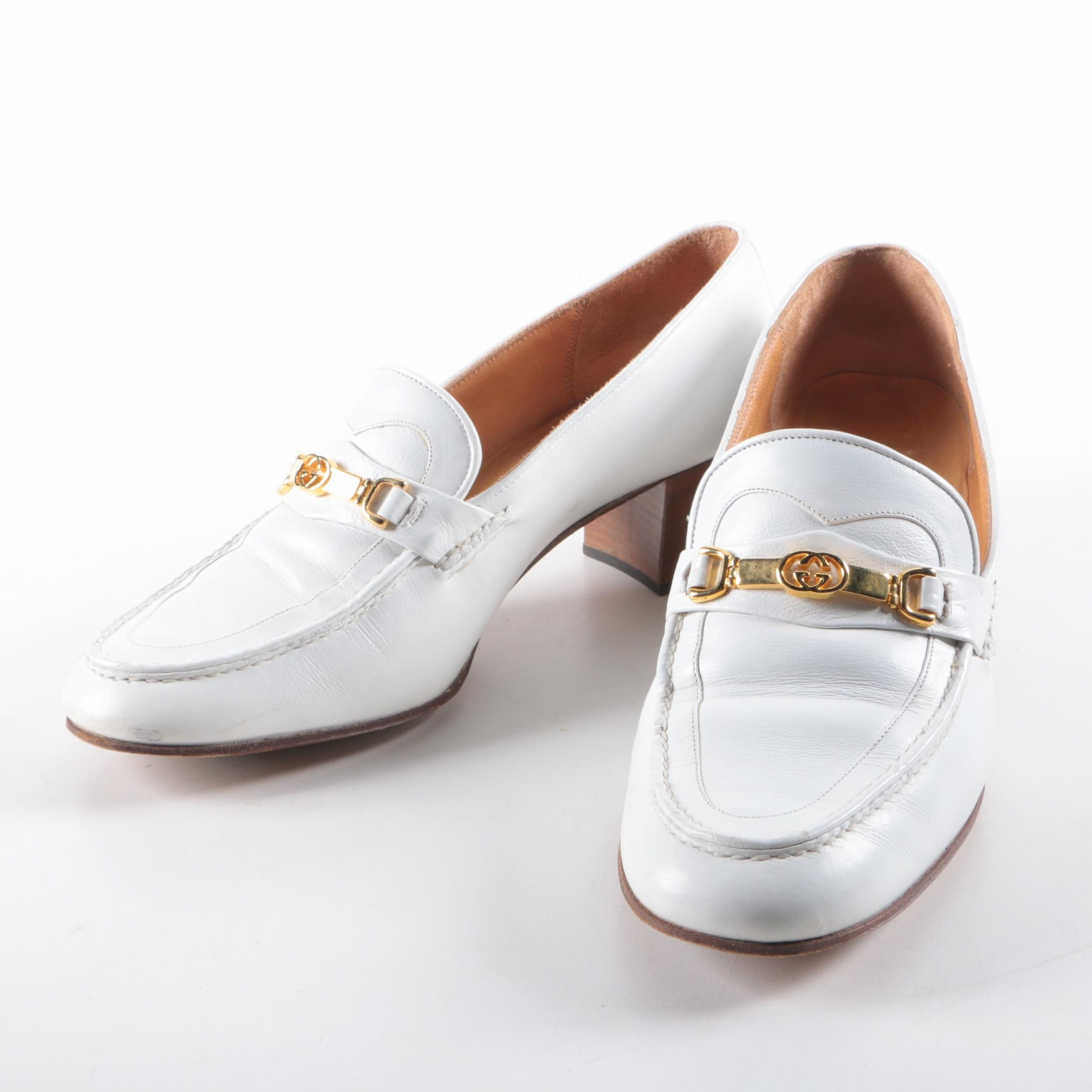 Circa 1960 Vintage Gucci White Leather High-Heeled Loafers
