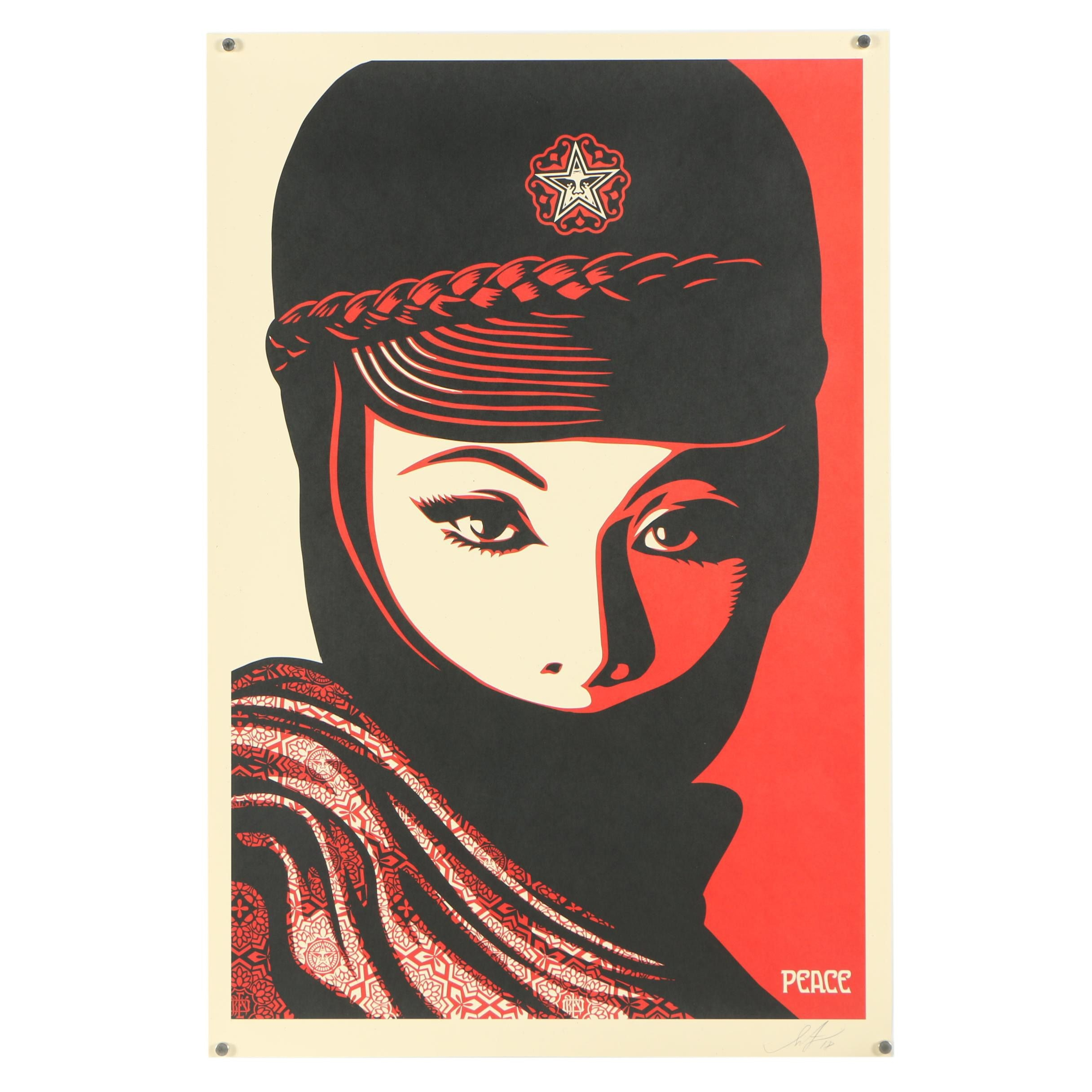 "Shepard Fairey Signed ""Mujer Fatale"" Offset Print"