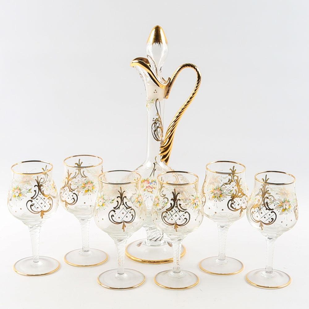 Murano Hand Painted Glass Decanter and Stemware