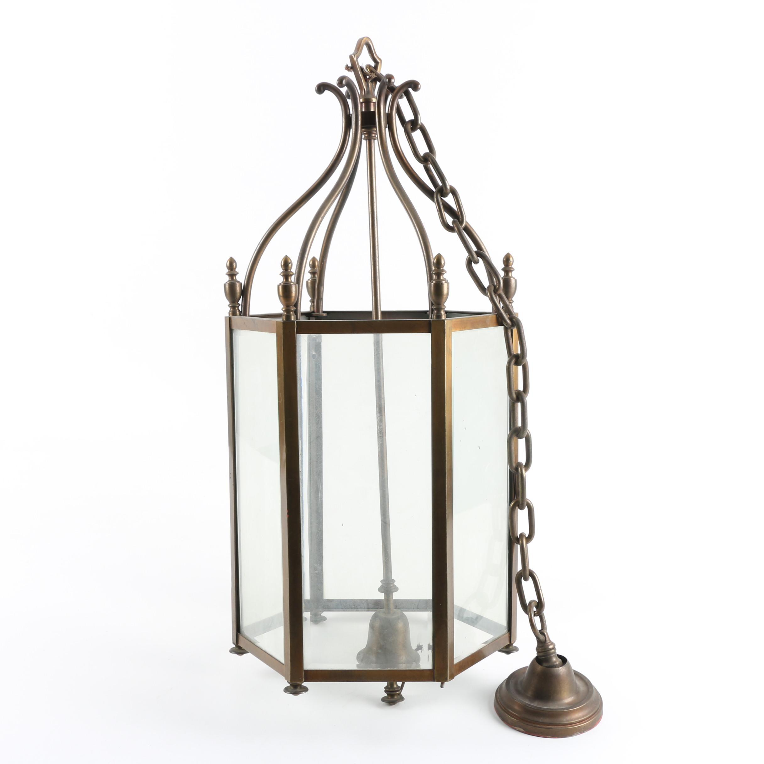 Large Brass Hanging Lantern Frame and Parts