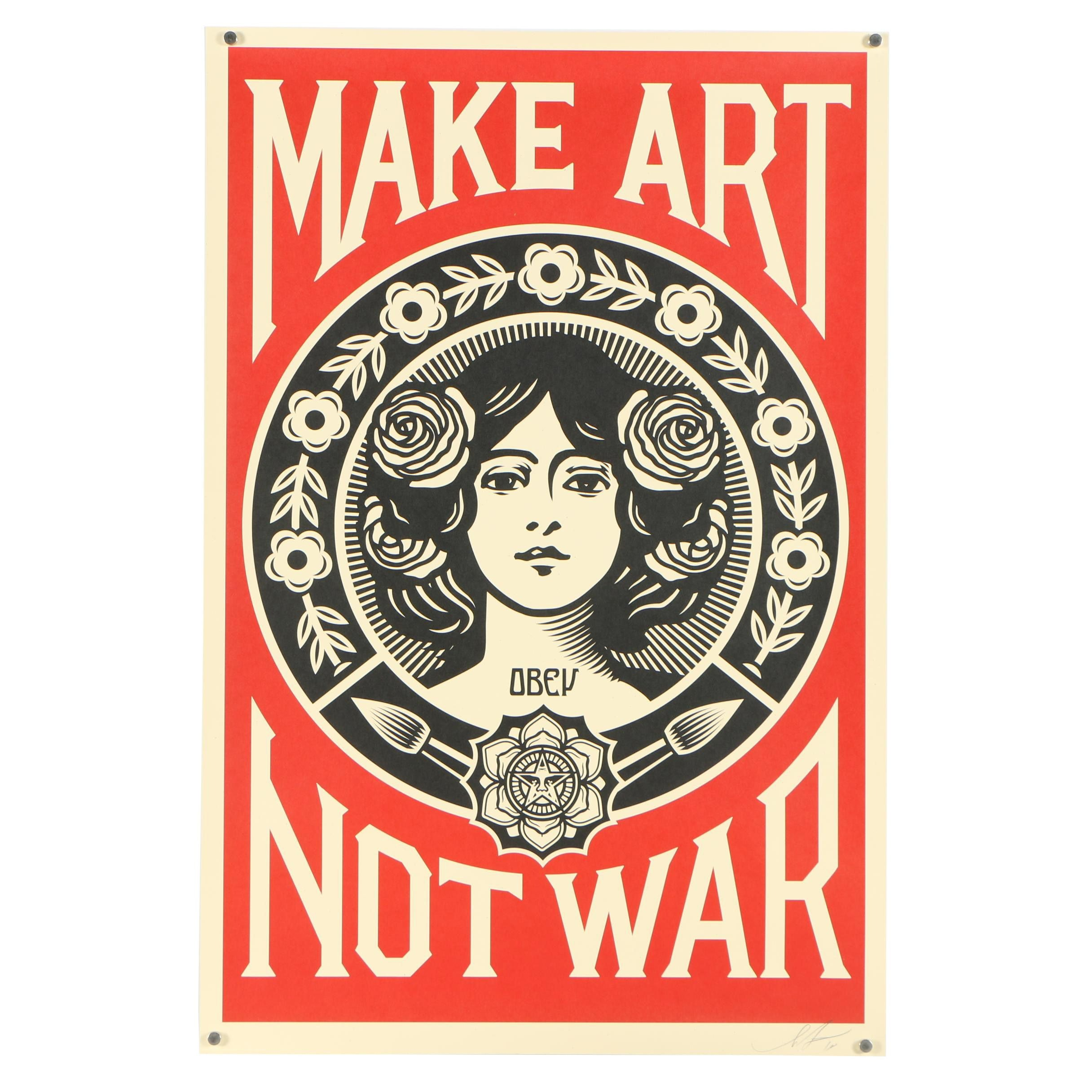 """Shepard Fairey Signed """"Make Art Not War"""" Offset Print"""