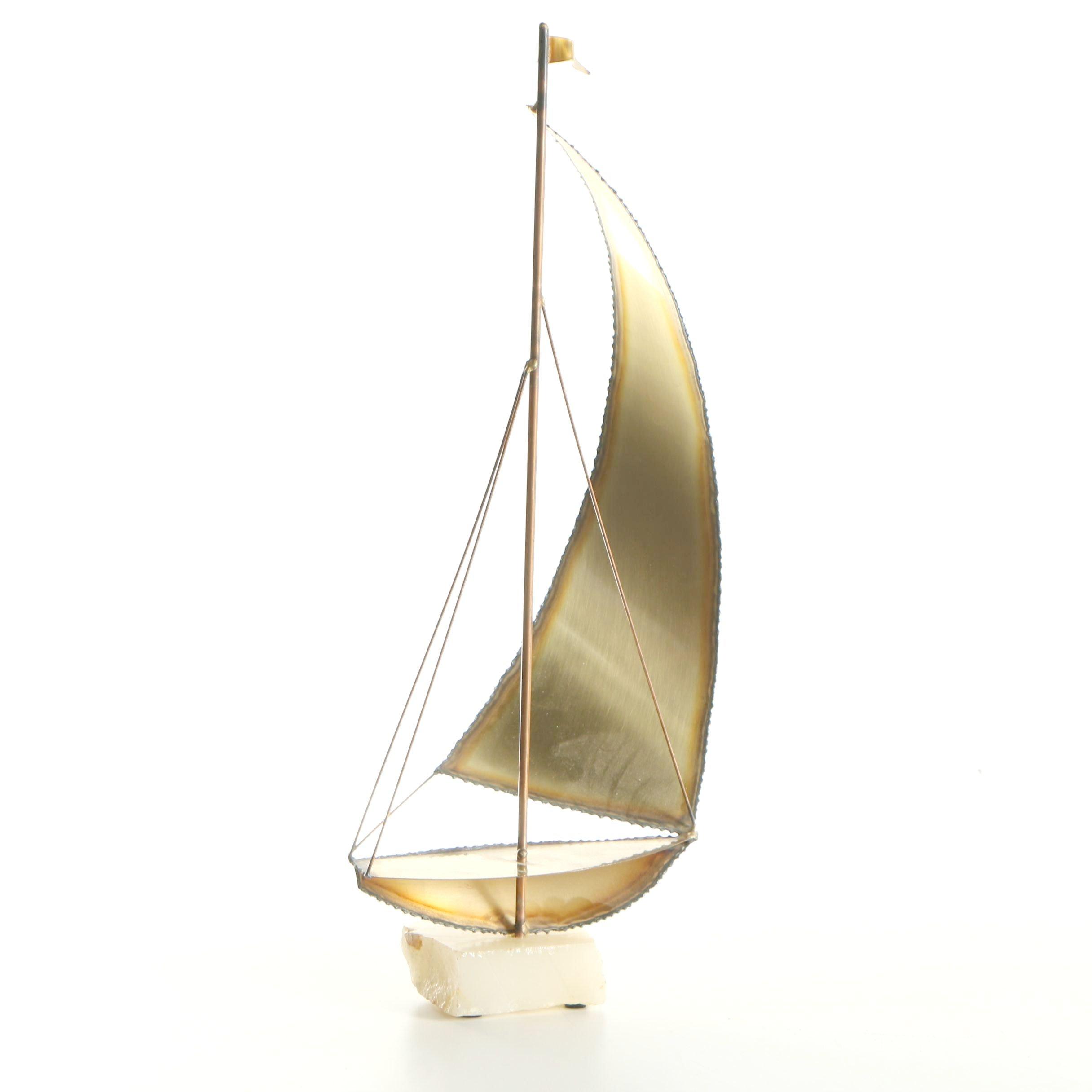 Mario Jason Brass Sailboat Sculpture