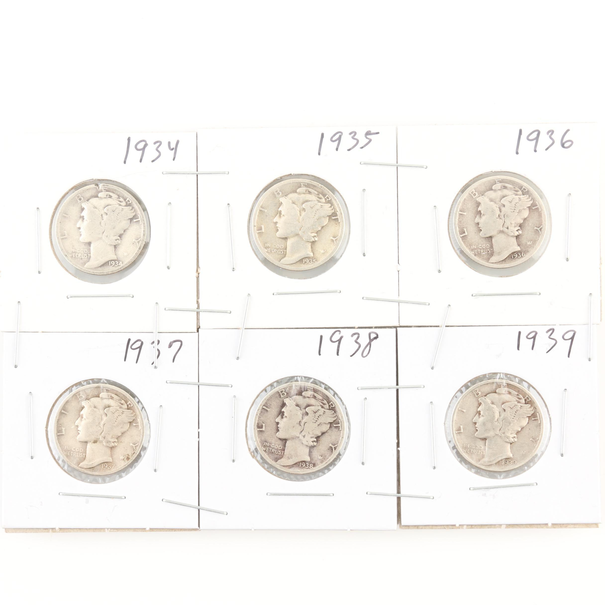 Group of 6 Silver Mercury Dimes