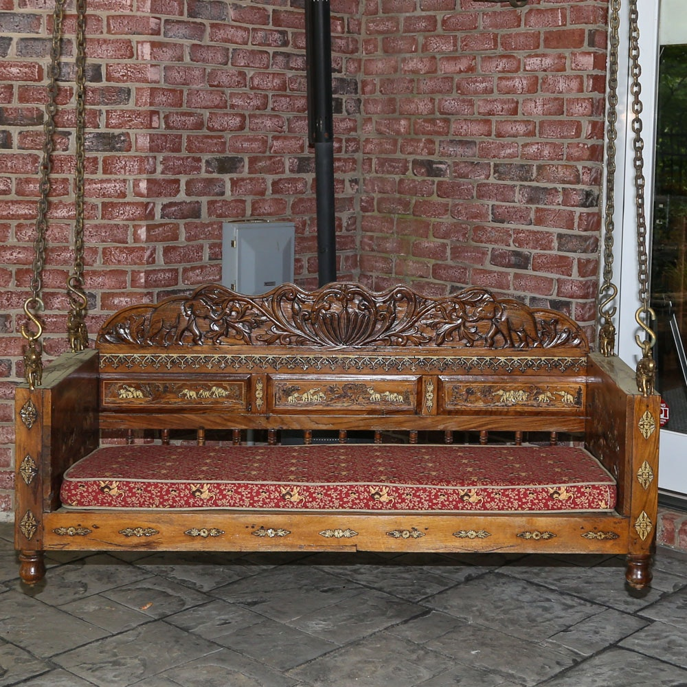 Carved Indian Jhoola Porch Swing
