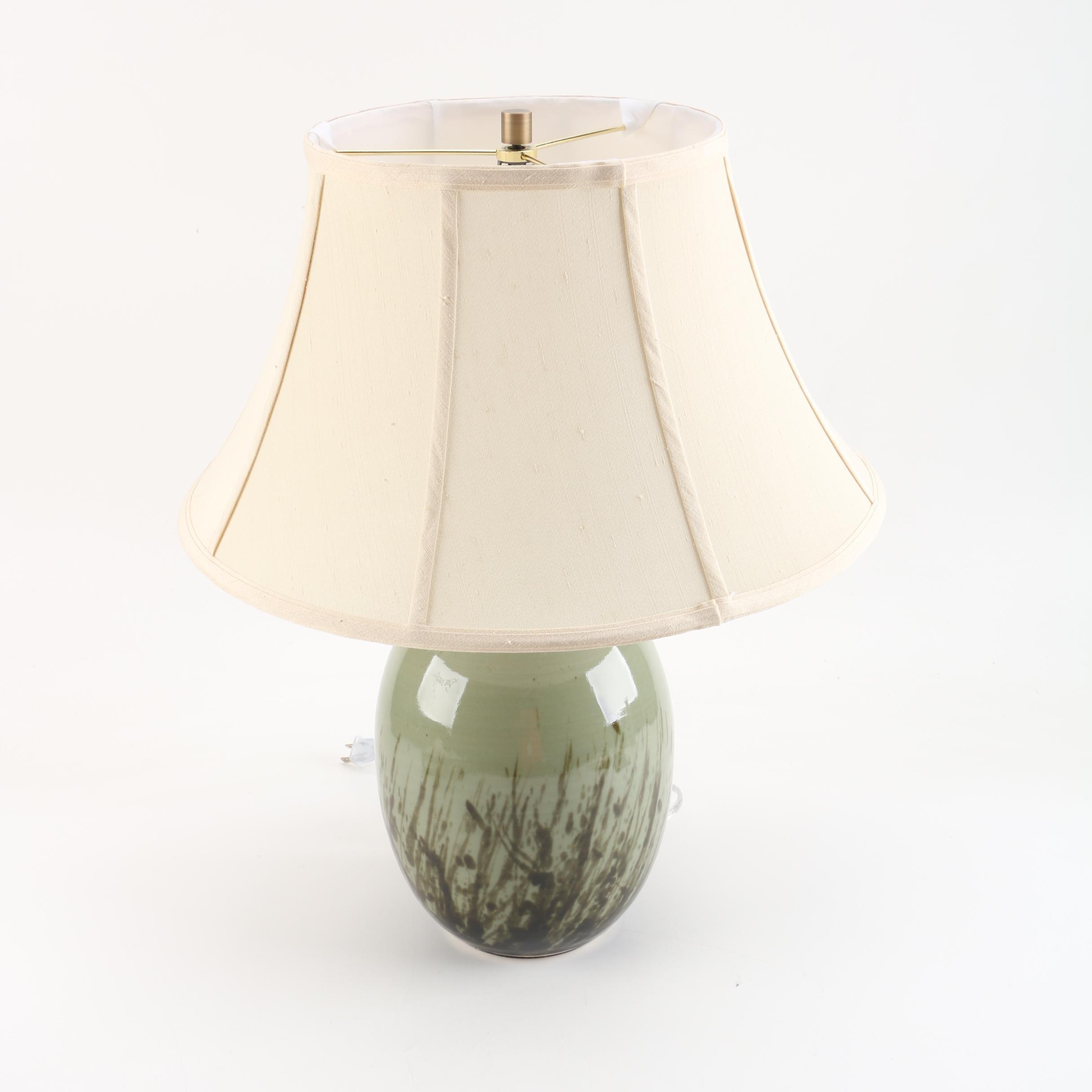 Ceramic Sage Green Urn Table Lamp Ebth