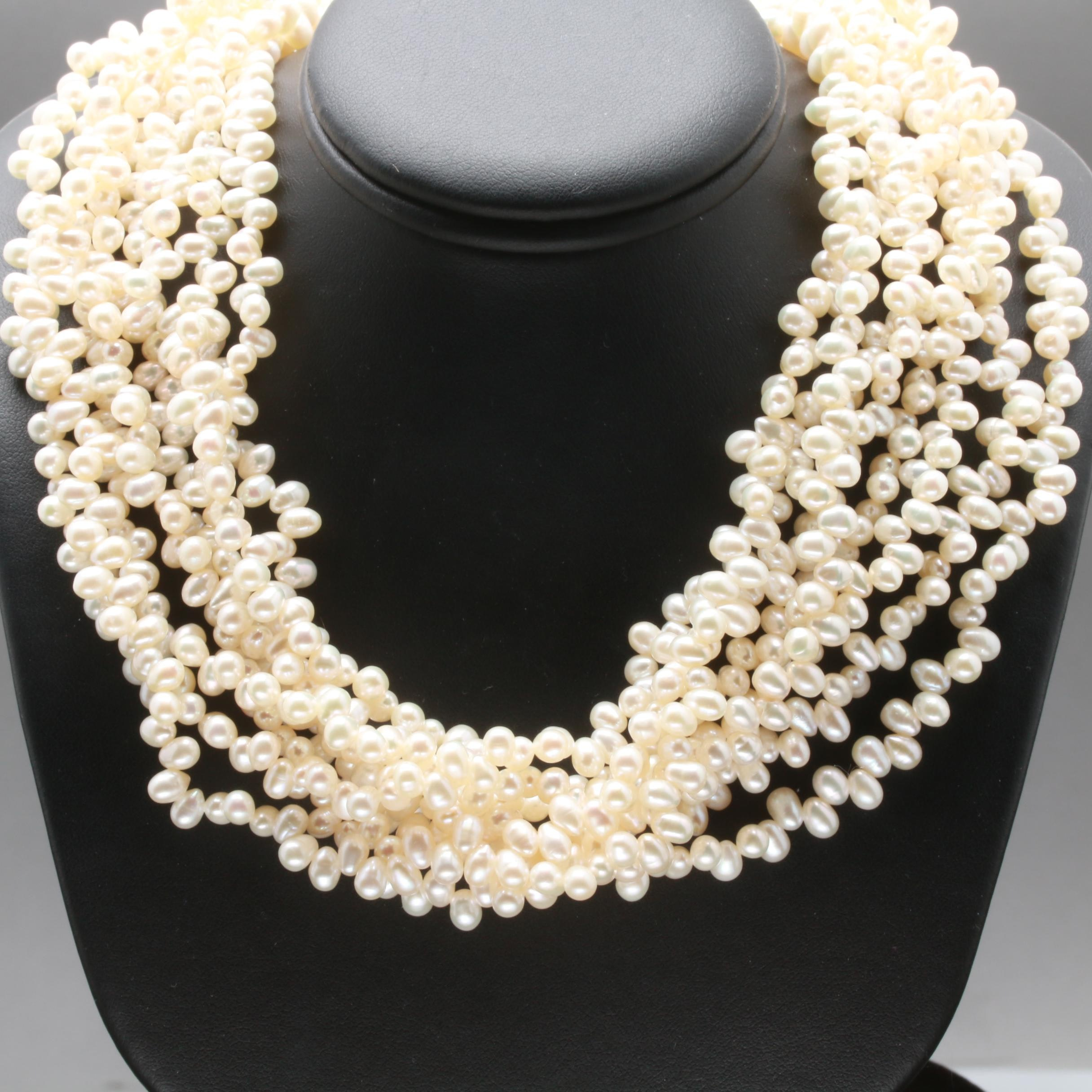 Sterling Silver Cultured Pearl Multi Strand Necklace