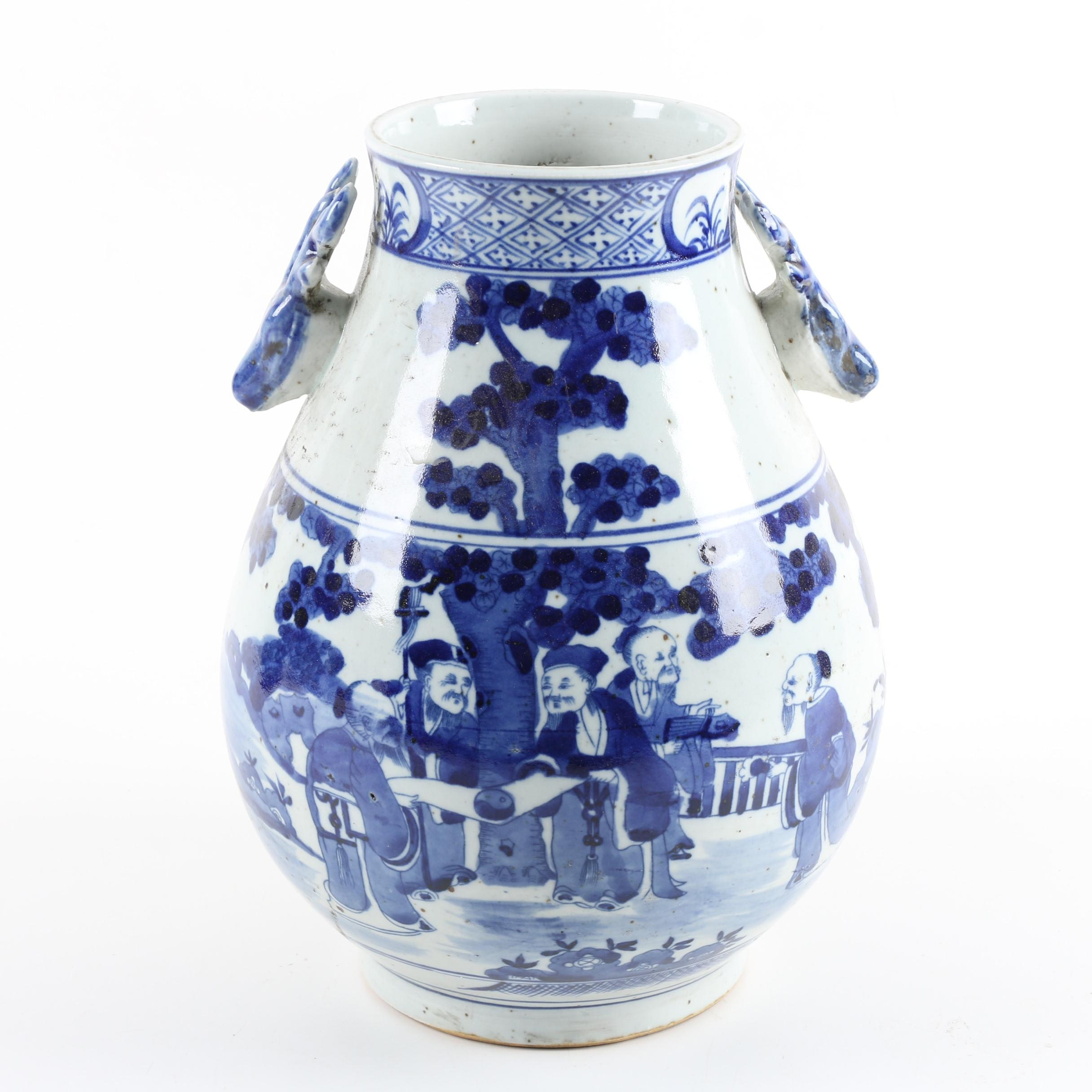 Chinese Blue and White Earthenware Vase