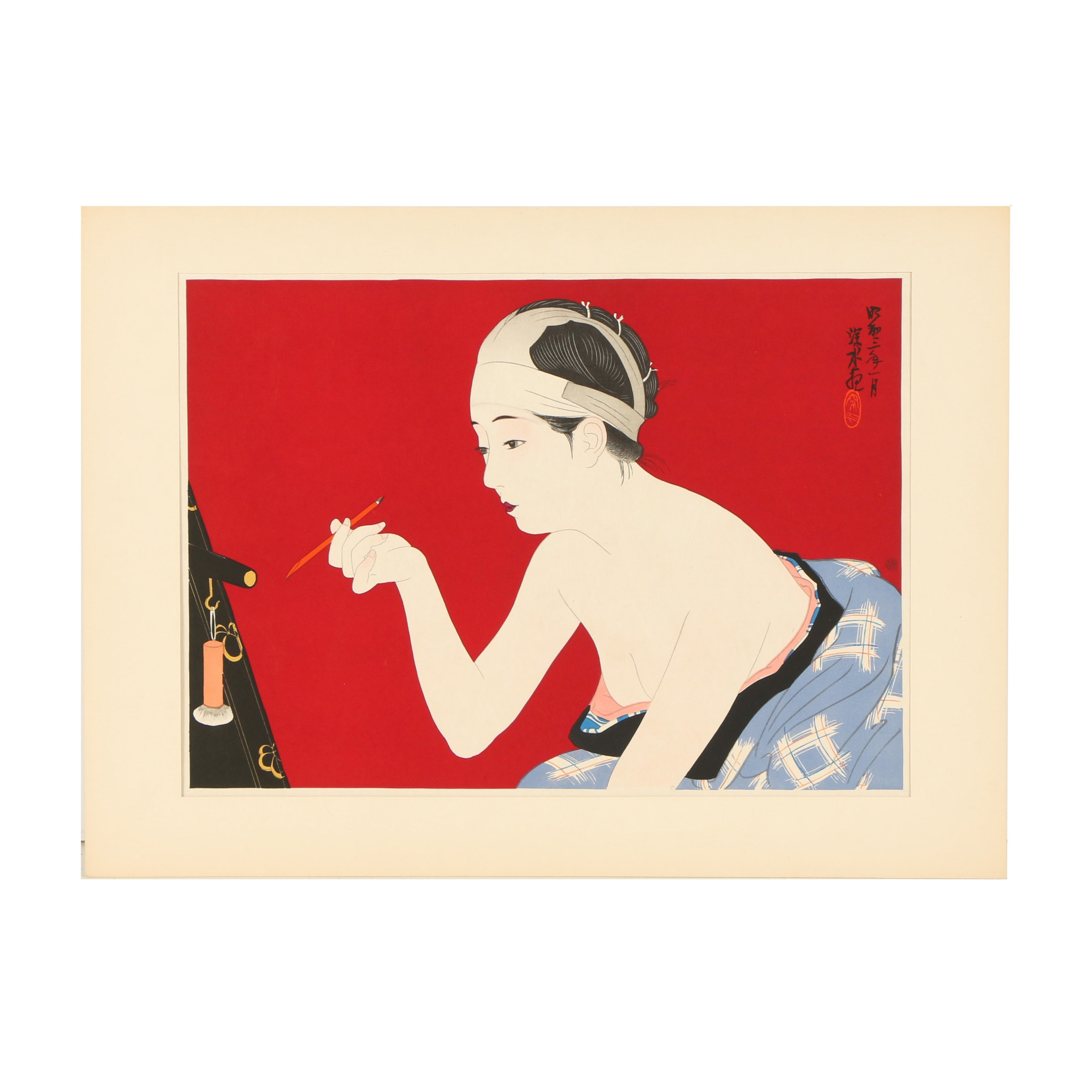 """Reproduction Print After Itō Shinsui """"In the Dressing Room of an Actress"""""""