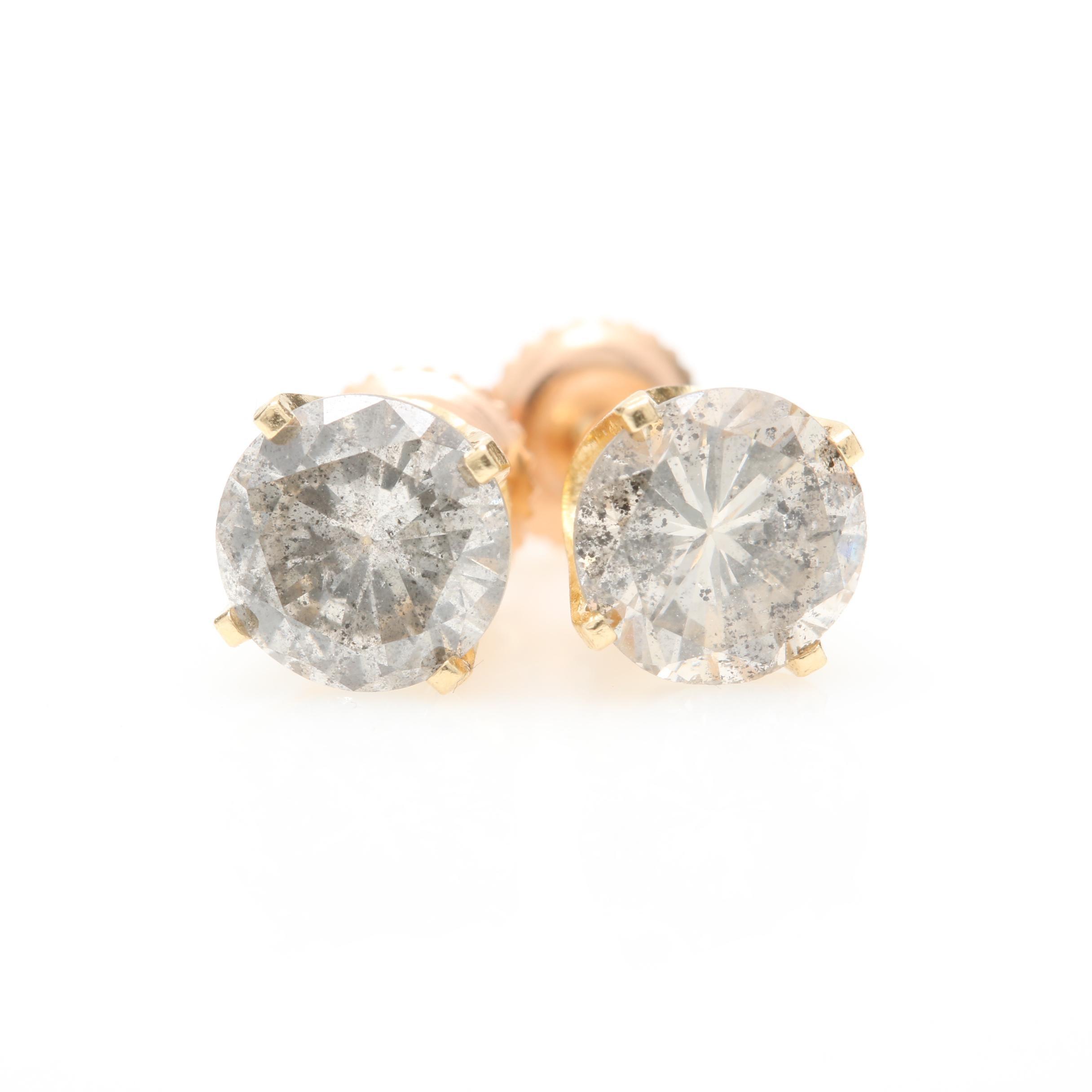 14K Yellow Gold 1.10 CTW Diamond Stud Earrings