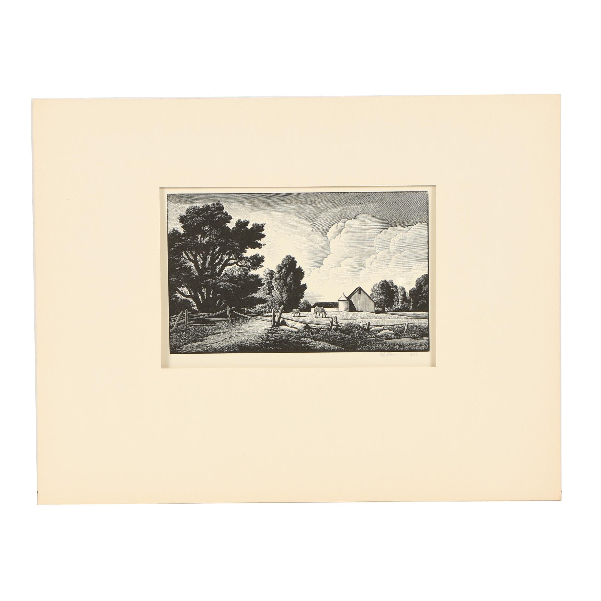 """Thomas W. Nason Wood Engraving """"Little Farm"""""""