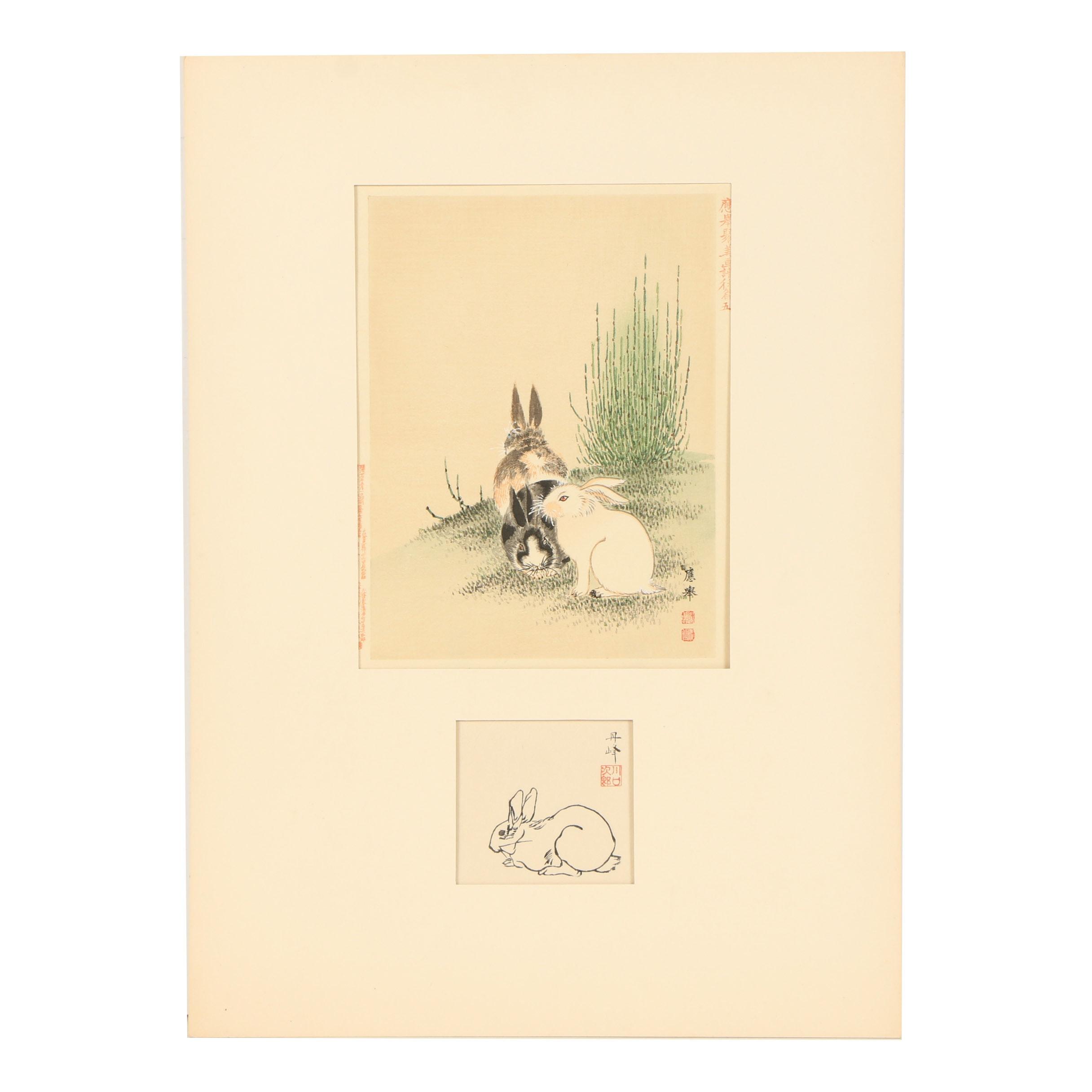 Woodblock Prints of Rabbits Including After Maruyama Ōkyo
