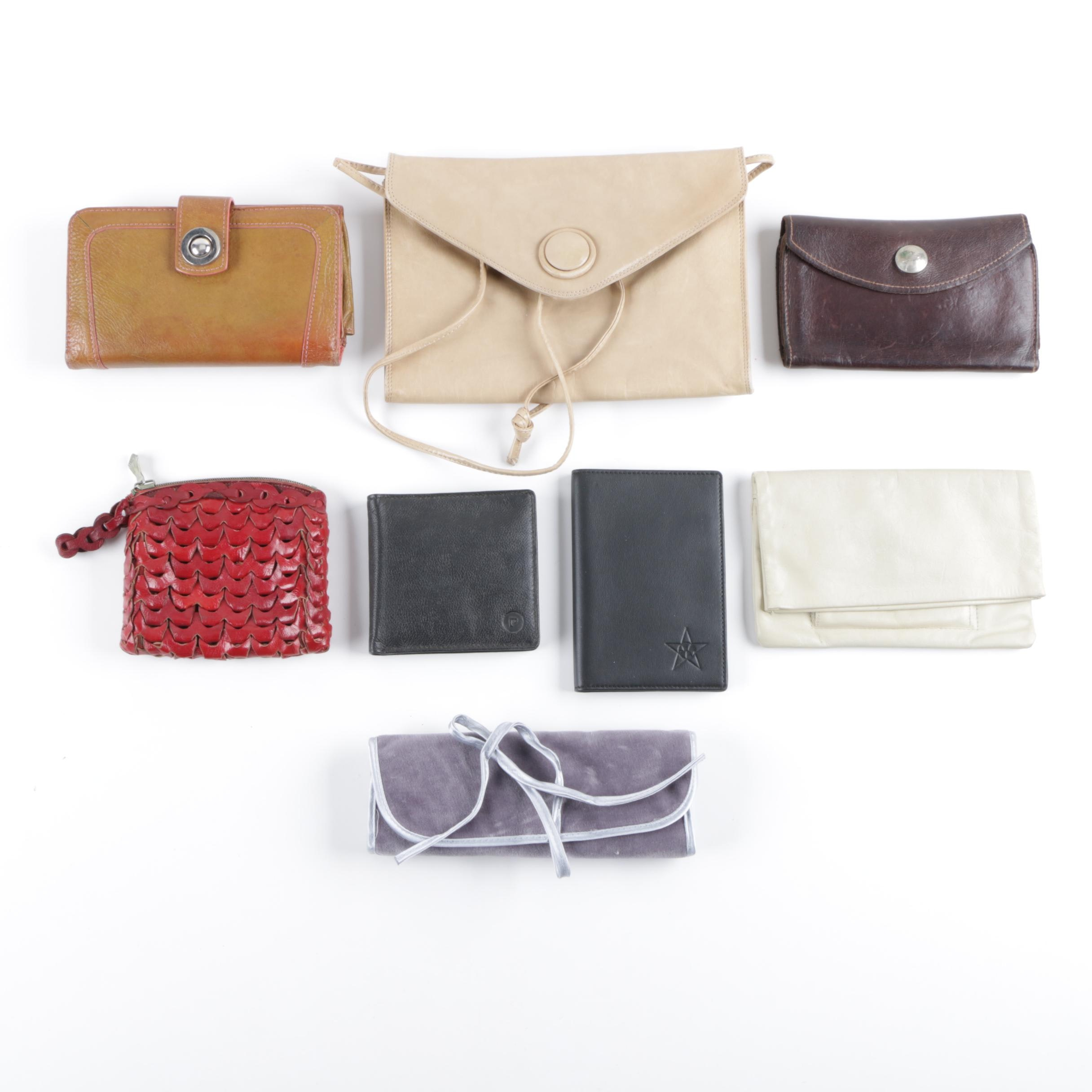 Vintage Leather Wallets and Handbags Including Reuso Reugiaro and Pierre Cardin