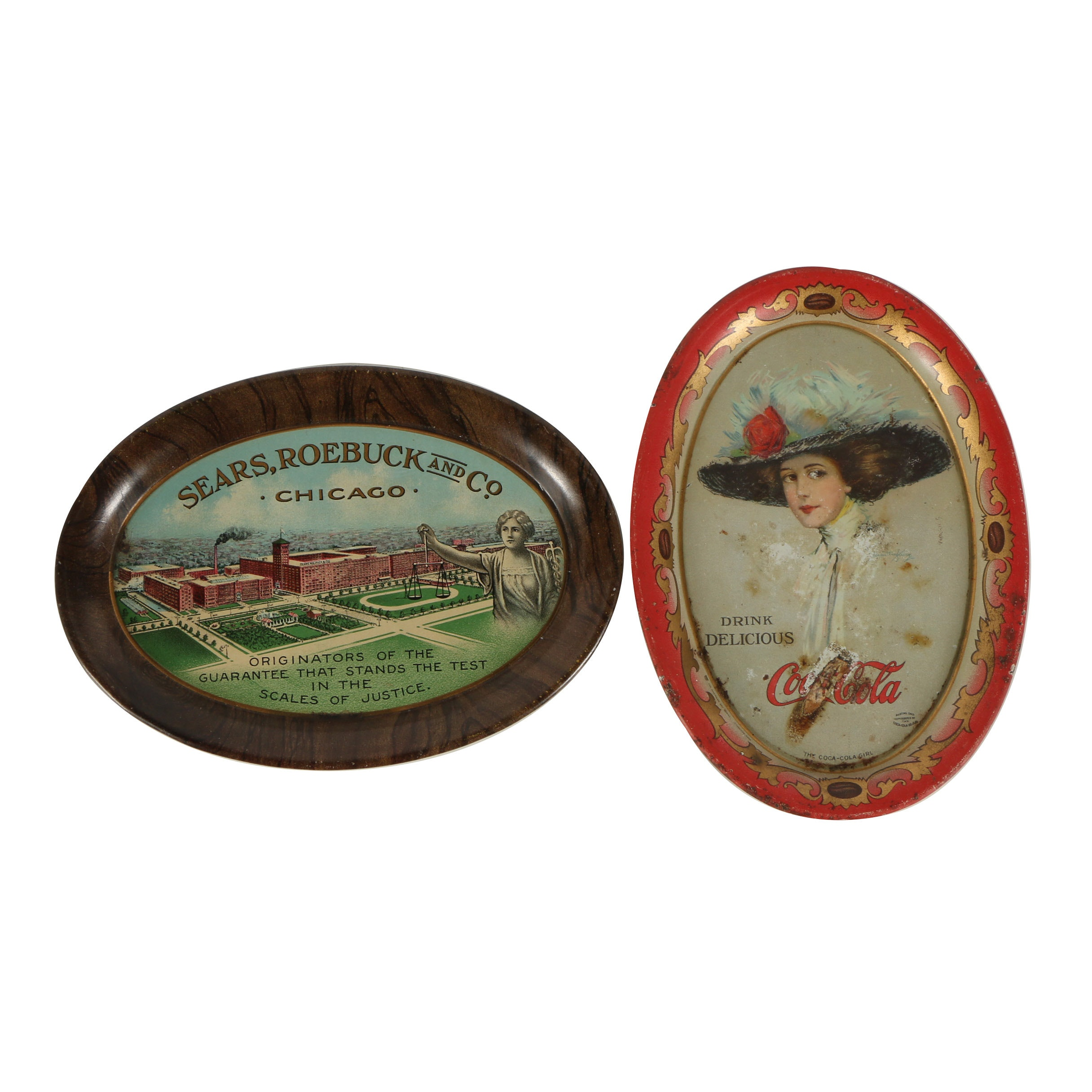 Early 20th Century Coca-Cola and Sears, Roebuck and Co. Tin Litho Trays