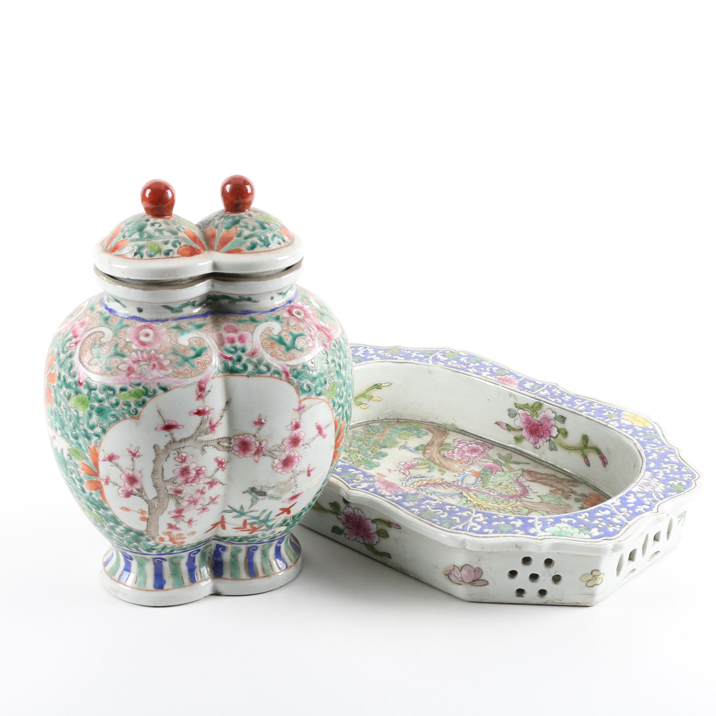 Chinese Ceramic Lidded Jar and Platter