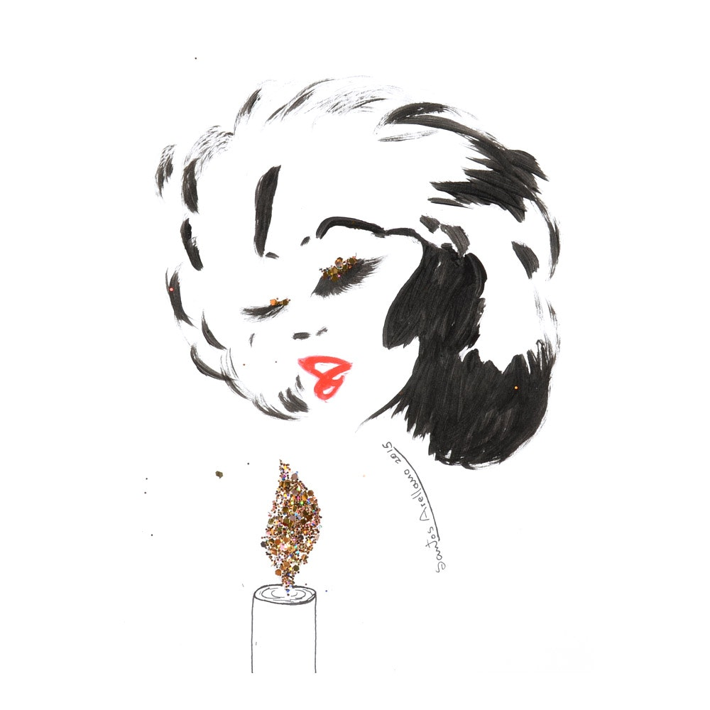 Santos Arellano Original Mixed Media Portrait of a Woman