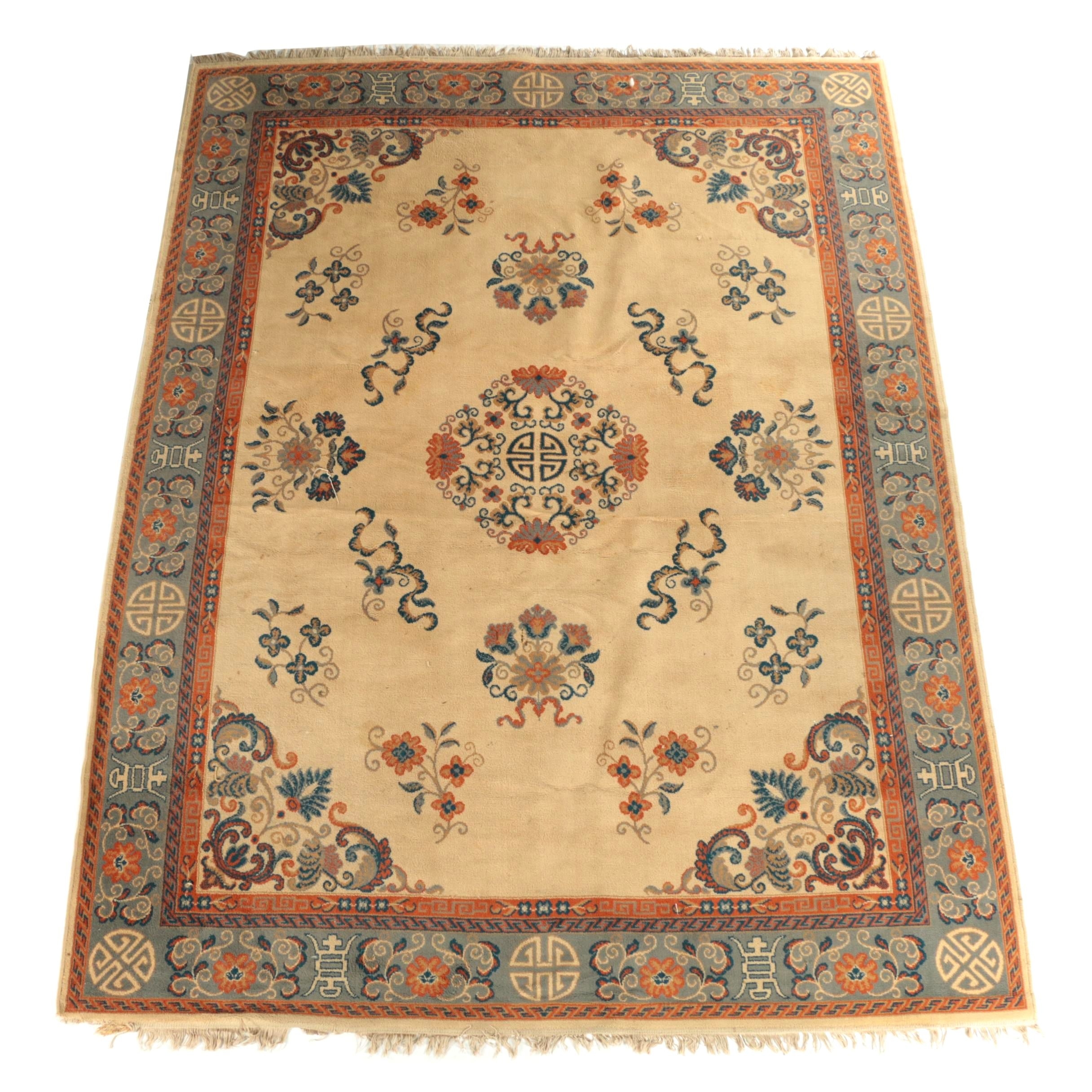 Vintage Power-Loomed Chinese-Style Wool Area Rug