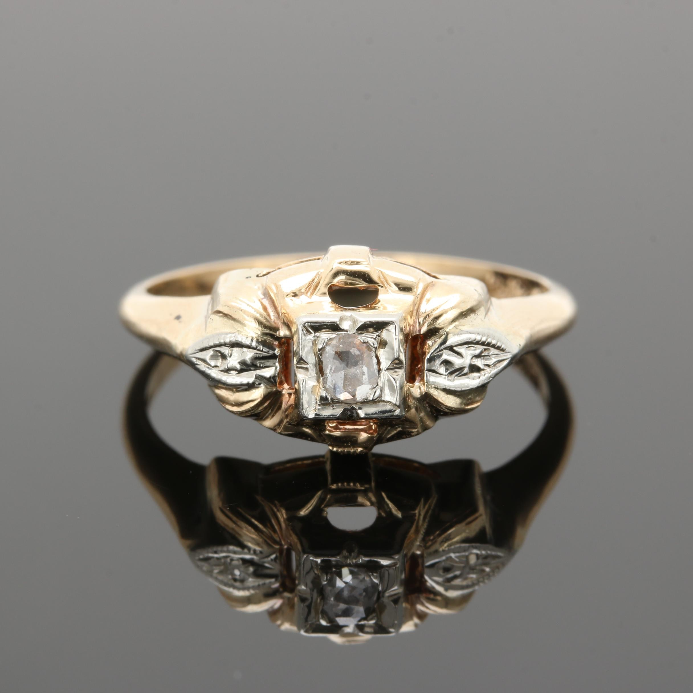 Vintage 14K Yellow Gold Diamond Ring with White Gold Accents
