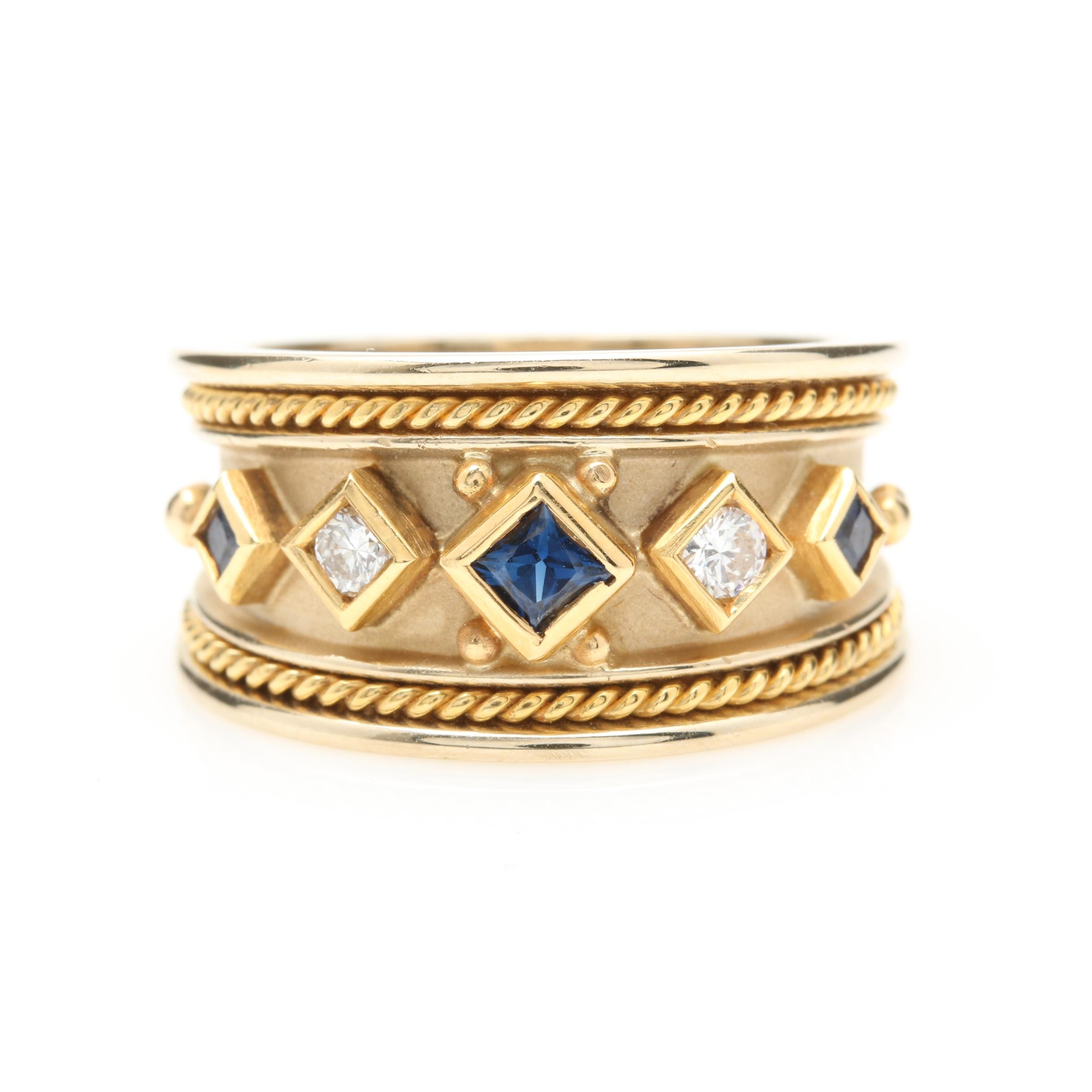 18K Yellow Gold Sapphire and Diamond Band
