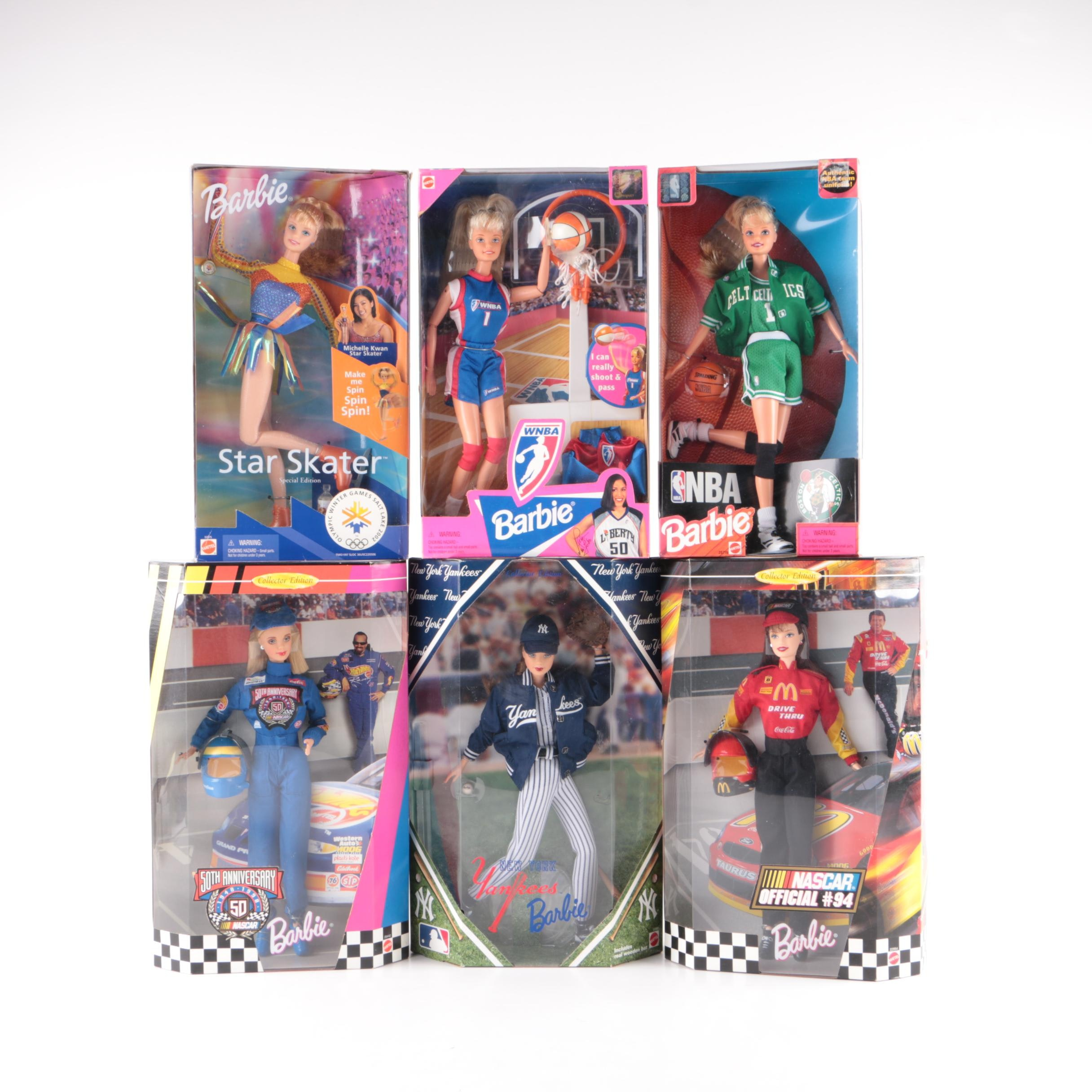 "Mattel Sports Themed Barbie Dolls Featuring ""50th Anniversary Nascar"""