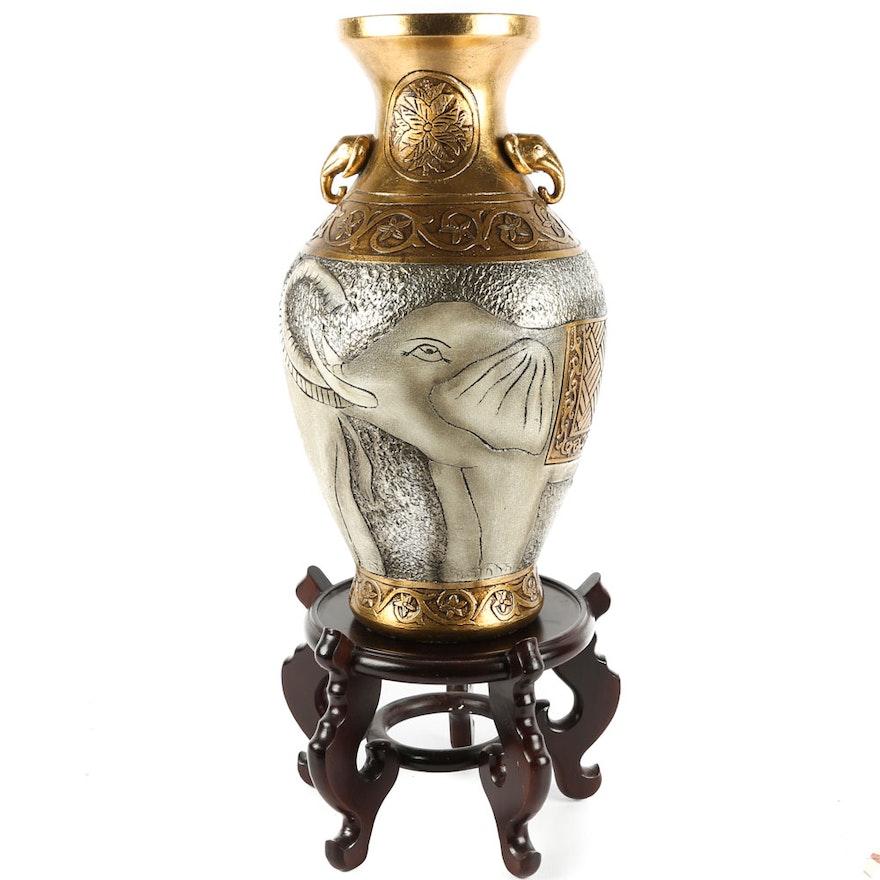 Ceramic Elephant Vase And Stand Ebth