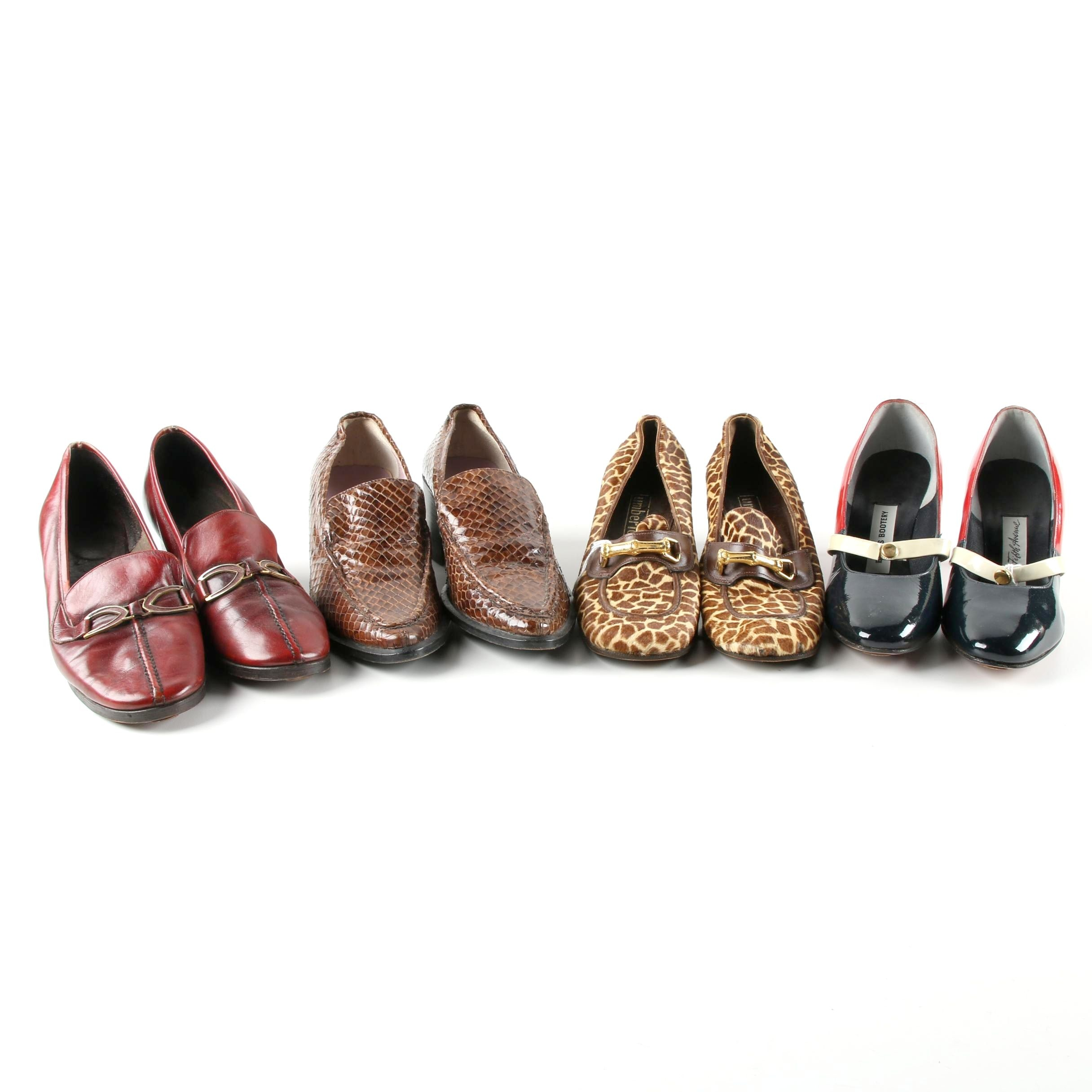Circa 1960s Vintage Dyed Snakeskin, Pony Hair and Leather Pumps