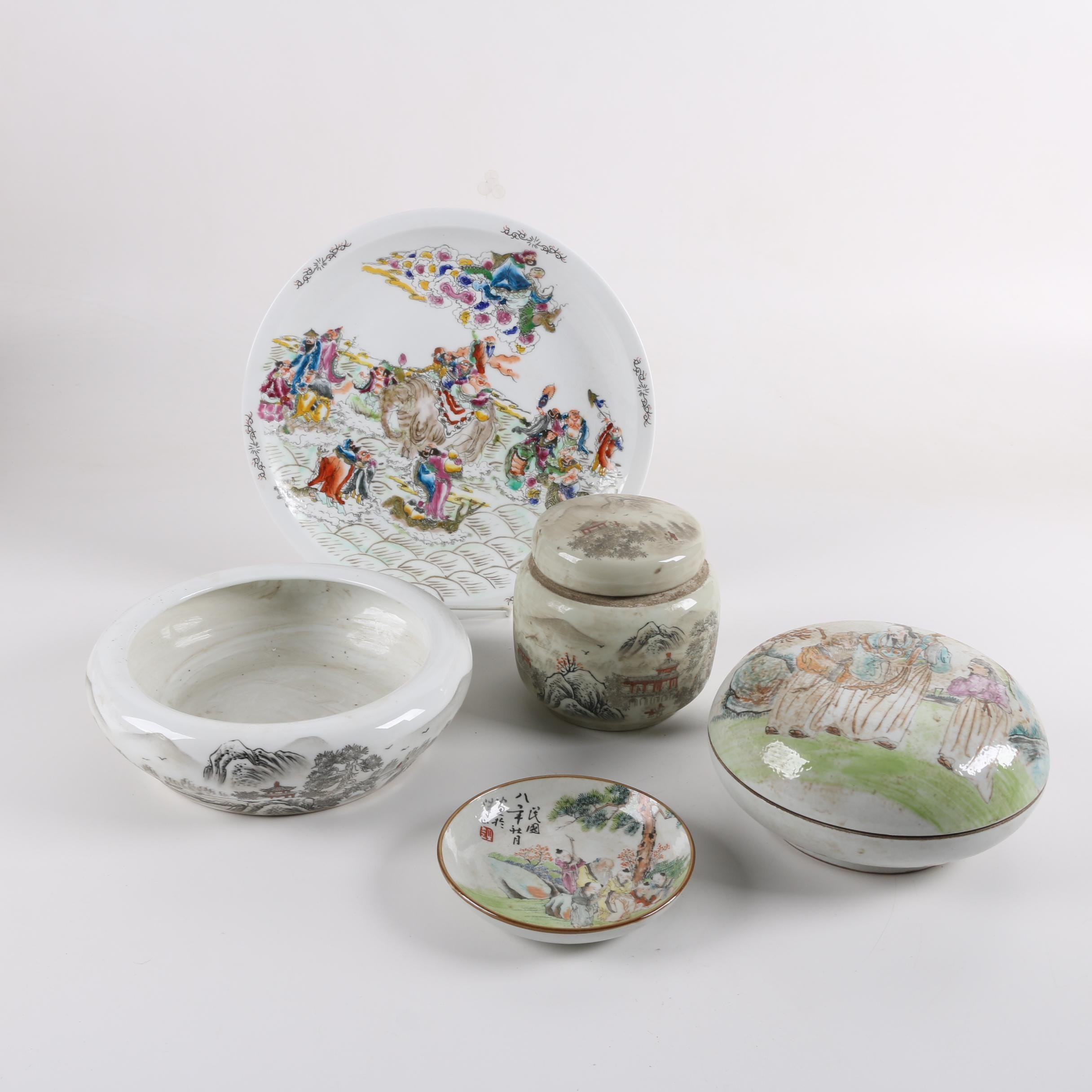 Chinese Decorative Plates and Covered Bowls