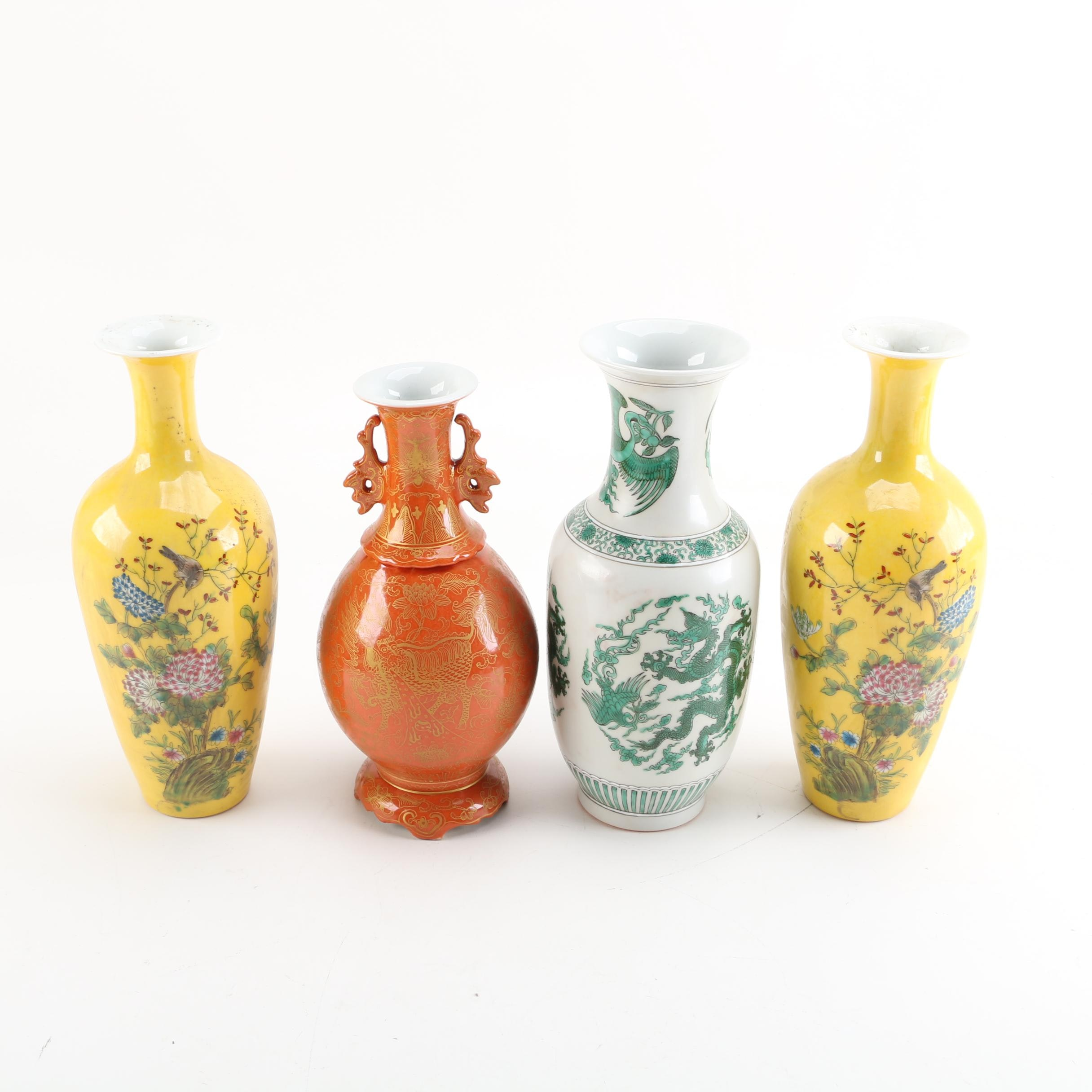 Contemporary Chinese Ceramic Vases with Floral and Dragon Designs