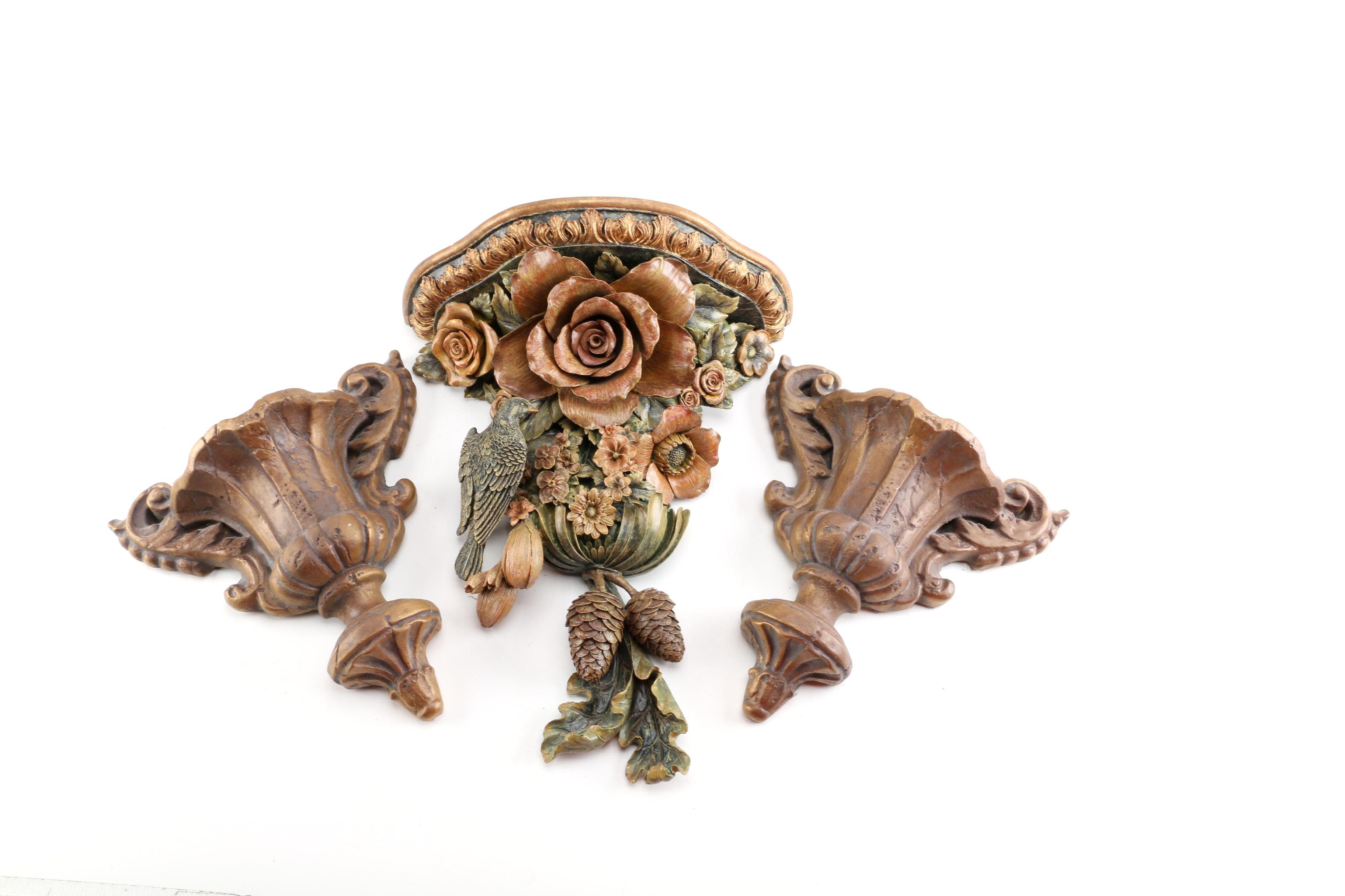 Wall Pocket Vases and Decorative Wall Shelf
