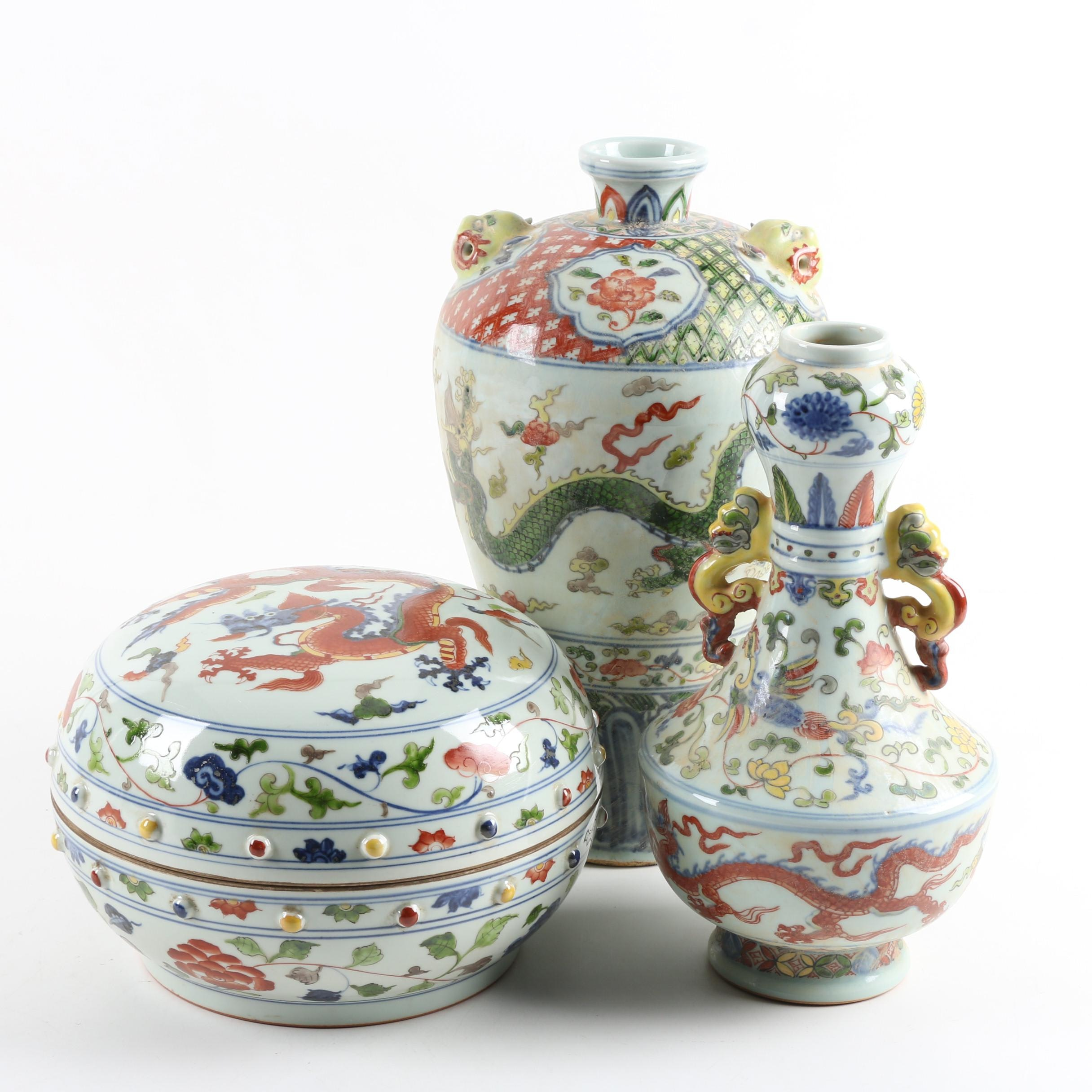 Chinese Wucai Style Porcelain Dragon Vases and Box