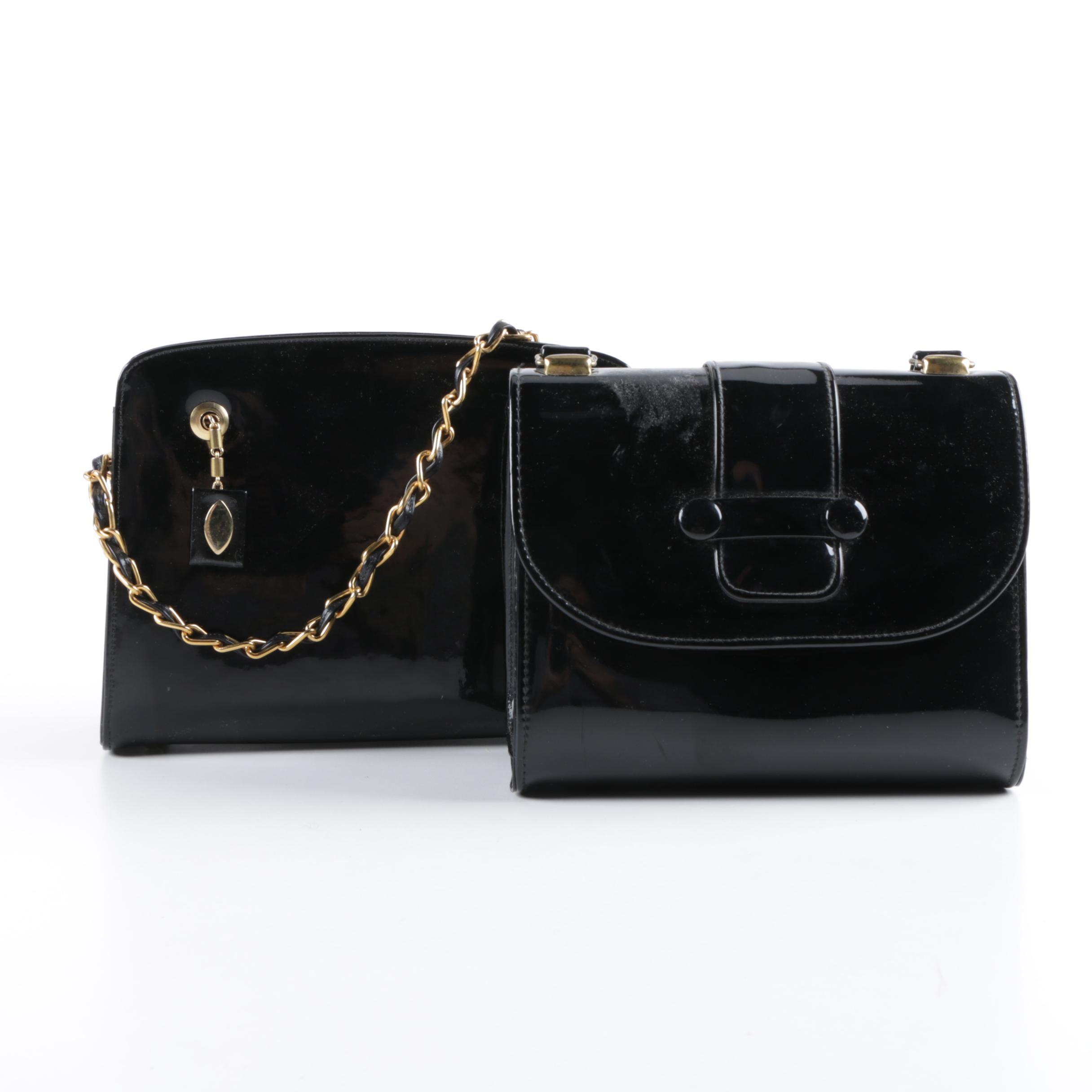 Vintage Black Patent Leather Handbags Including Coblentz Original
