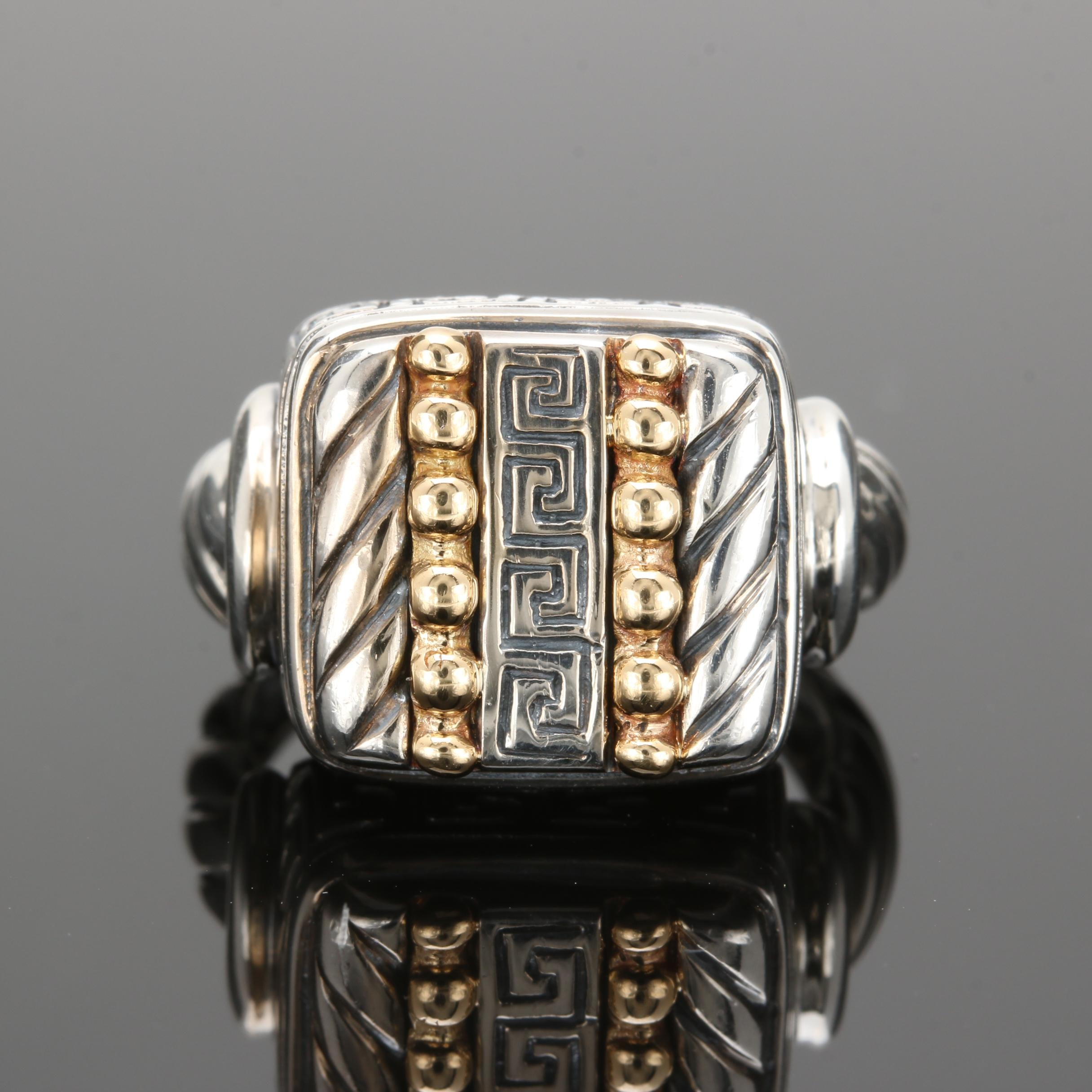 18K Yellow Gold and Sterling Silver Ring