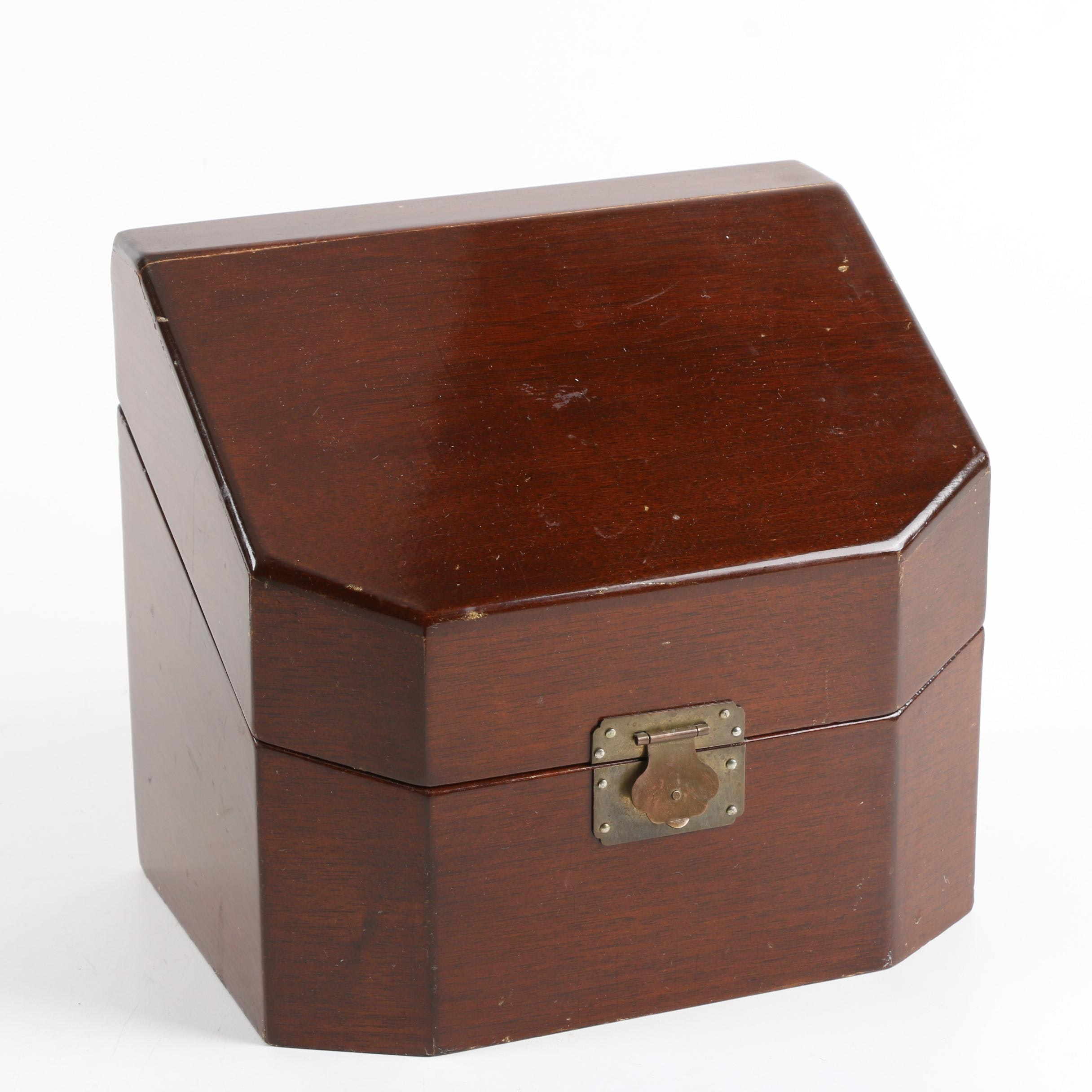 Wooden Trinket Box with Metal Closure