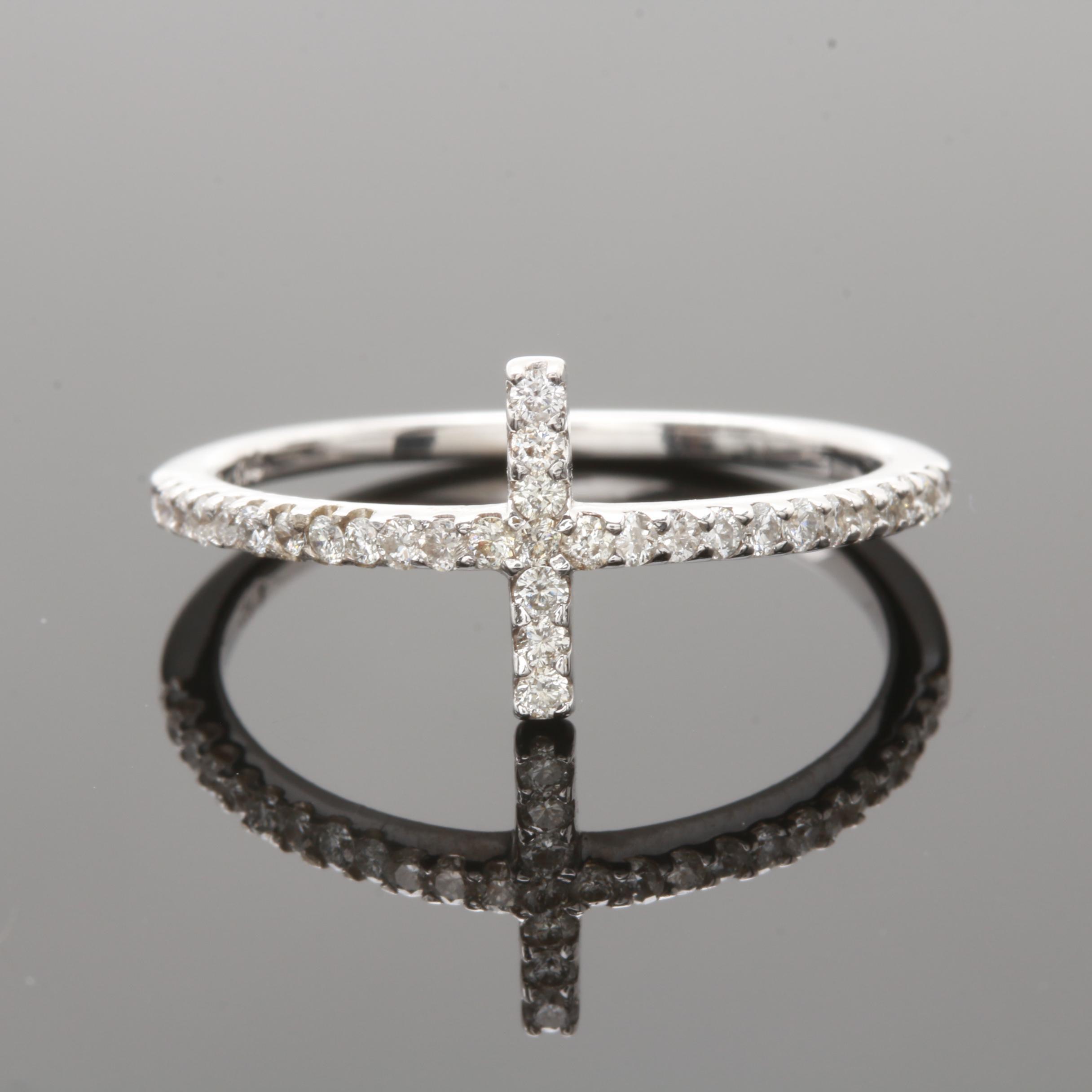 14K White Gold Diamond Geometric Ring