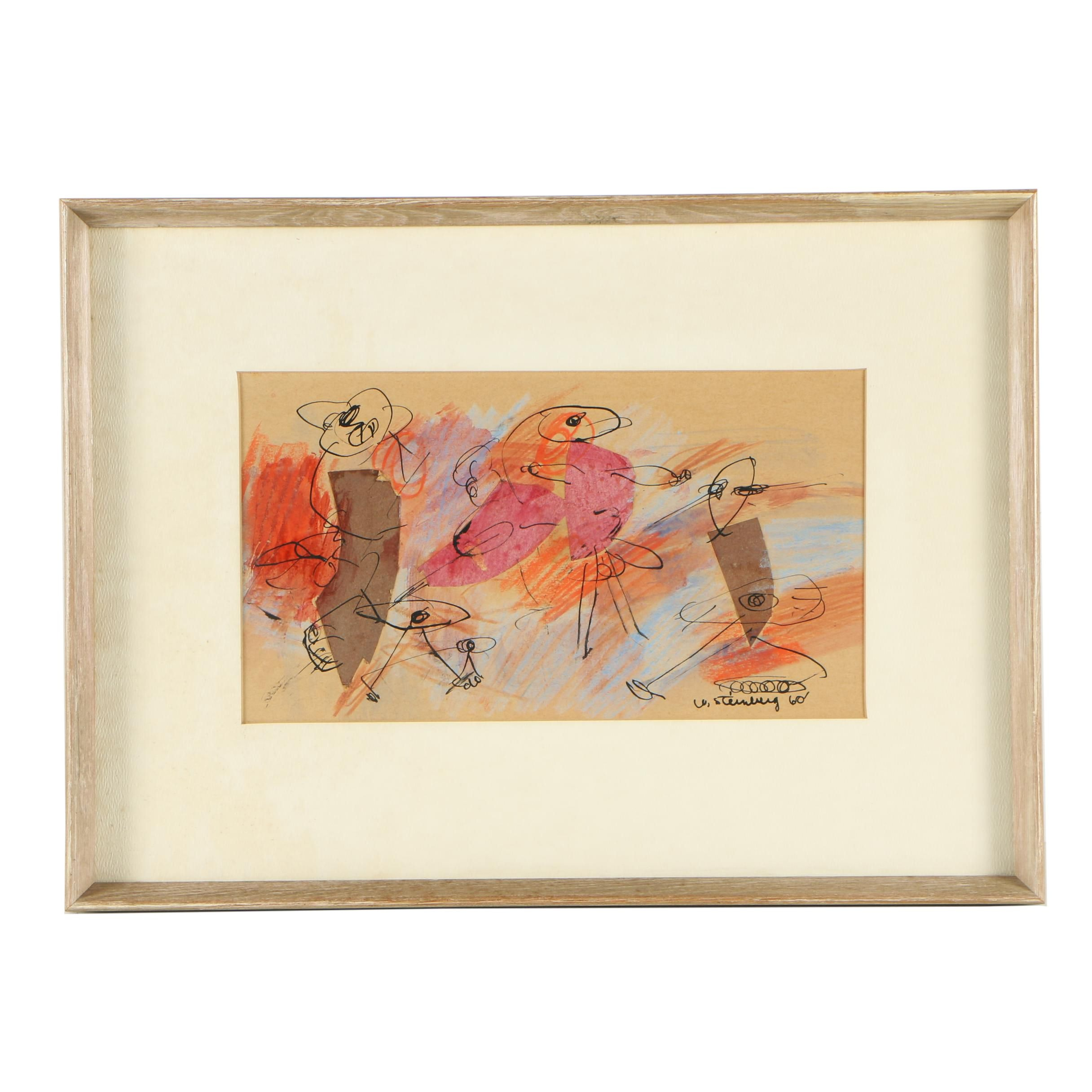 Steinberg Mixed Media Collage of Abstract Figures