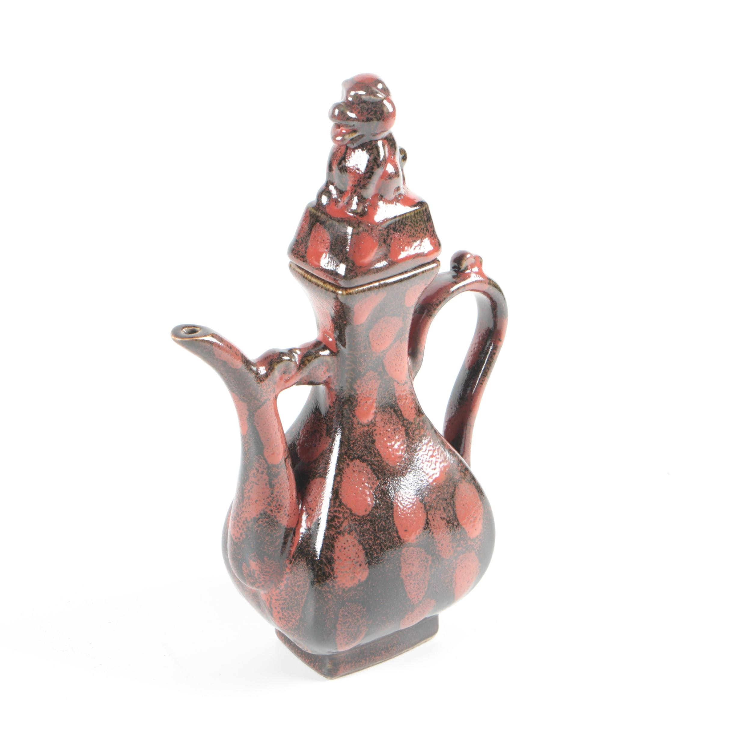 Chinese Teapot with Guardian Lion Finial
