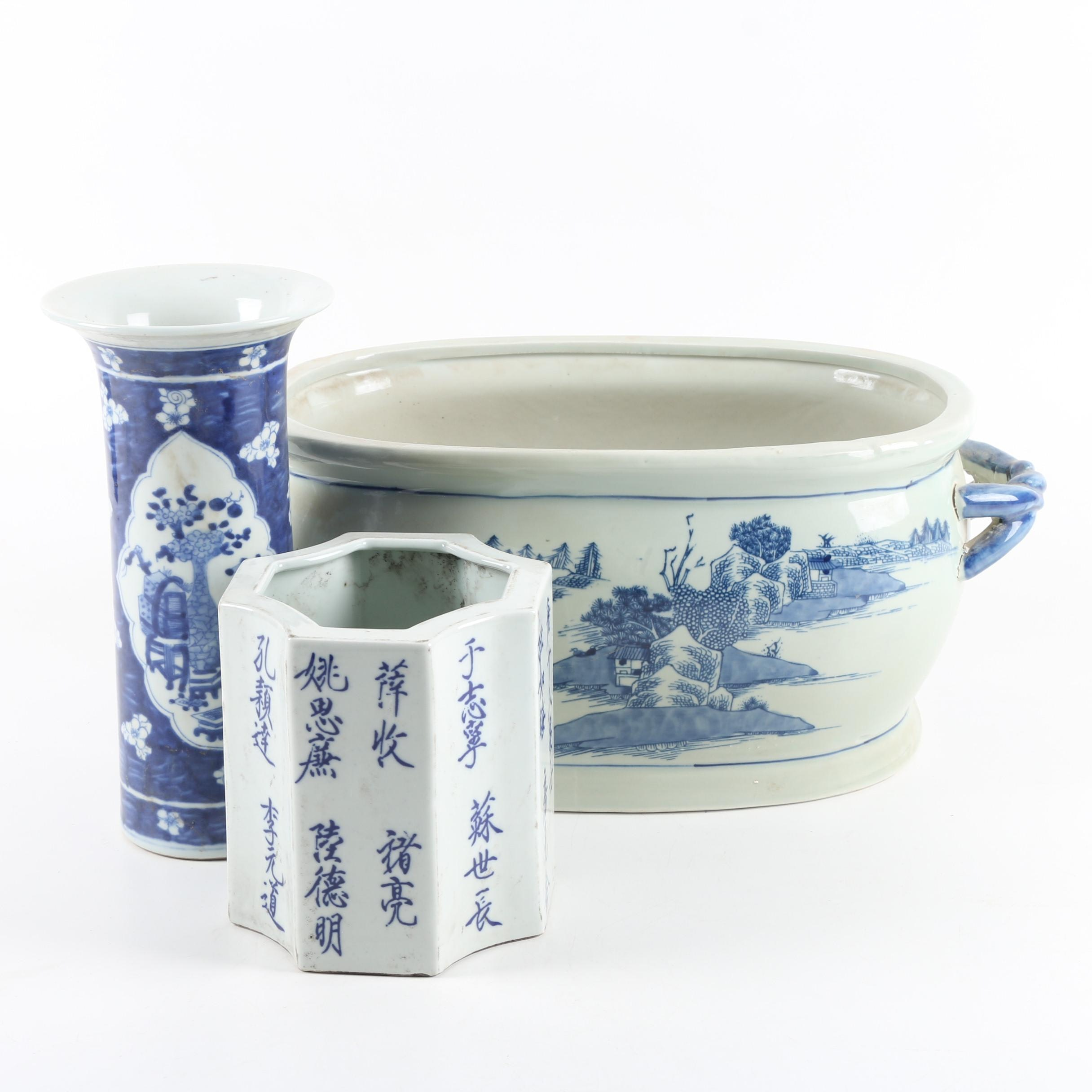 Chinese Ceramic Blue-and-White Planters and Vase