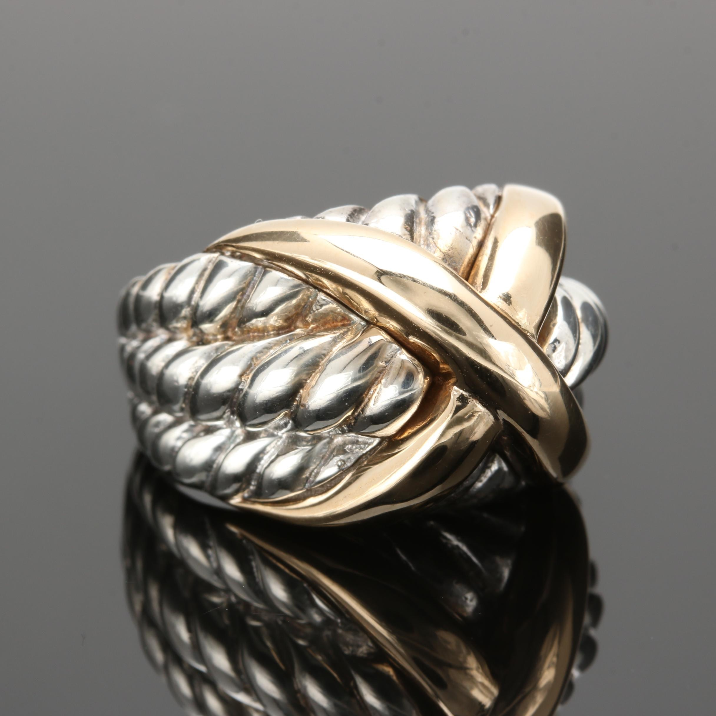 Sterling Silver and 14K Yellow Gold Ring