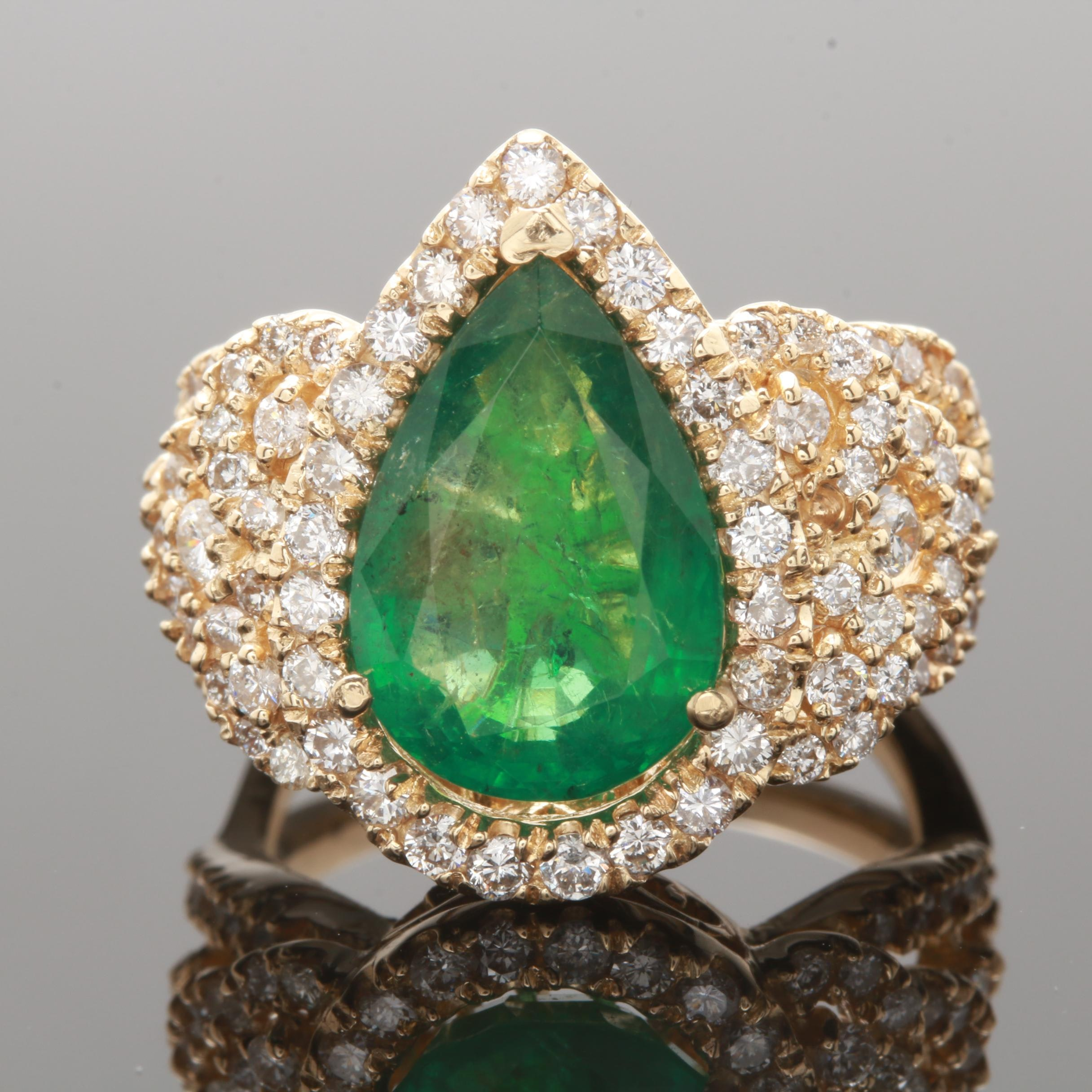 14K Yellow Gold 3.21 CT Emerald and 1.43 CTW Diamond Ring