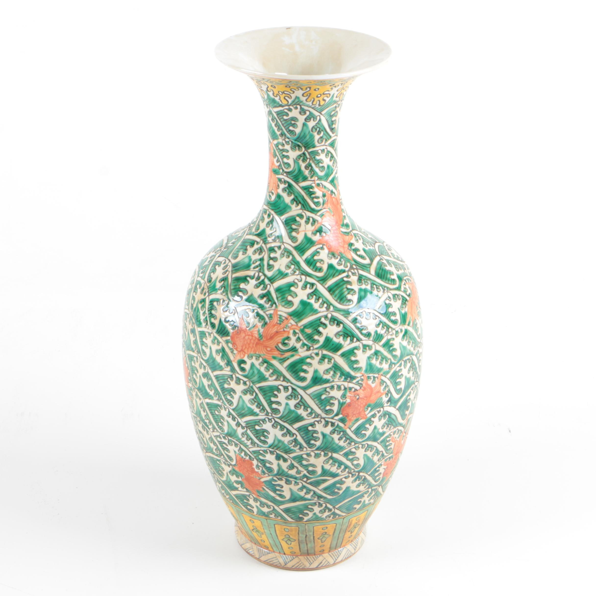 Tall Stoneware Vase in Green and Coral