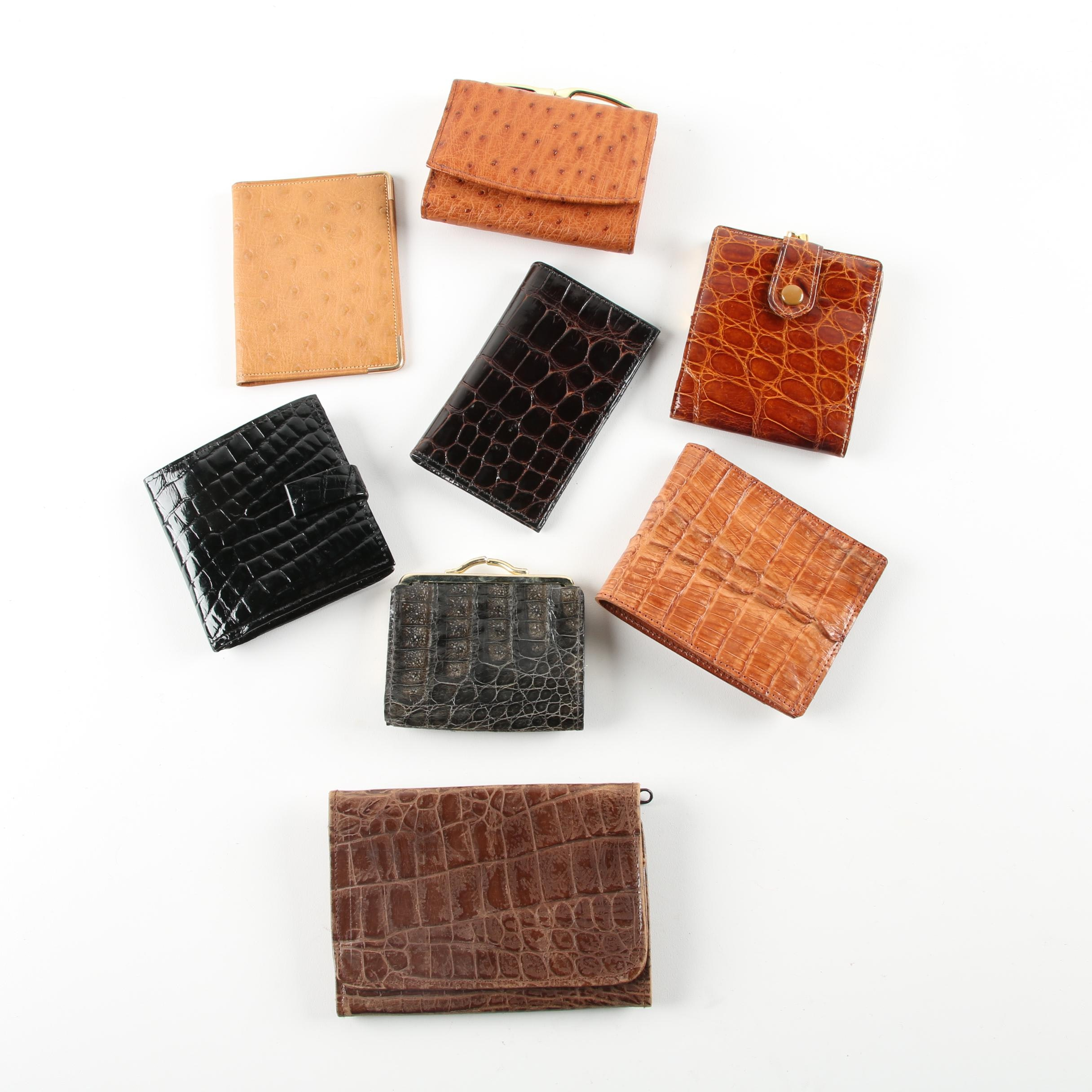 Reptile Skin, Ostrich Skin, and Embossed Leather Wallets Including Cole Haan
