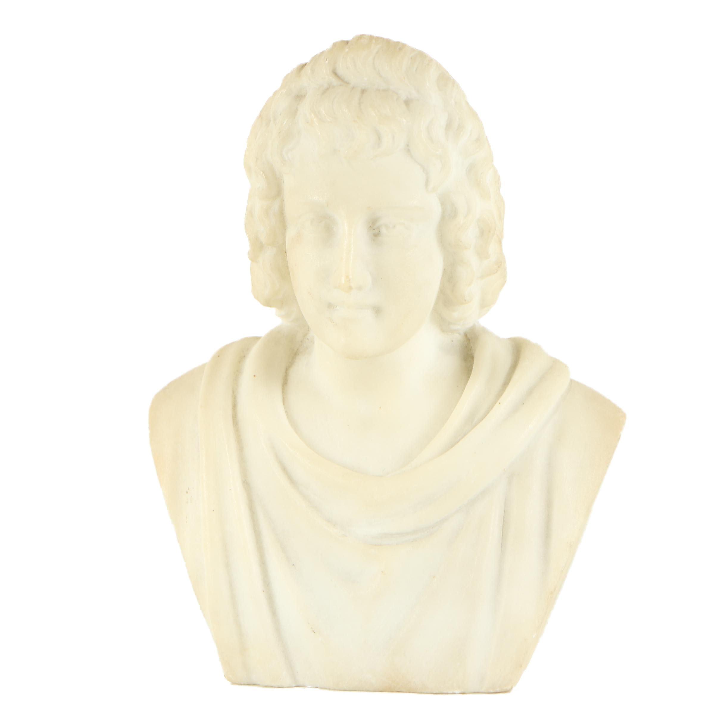 """Carved Alabaster Bust """"Virgilio"""""""