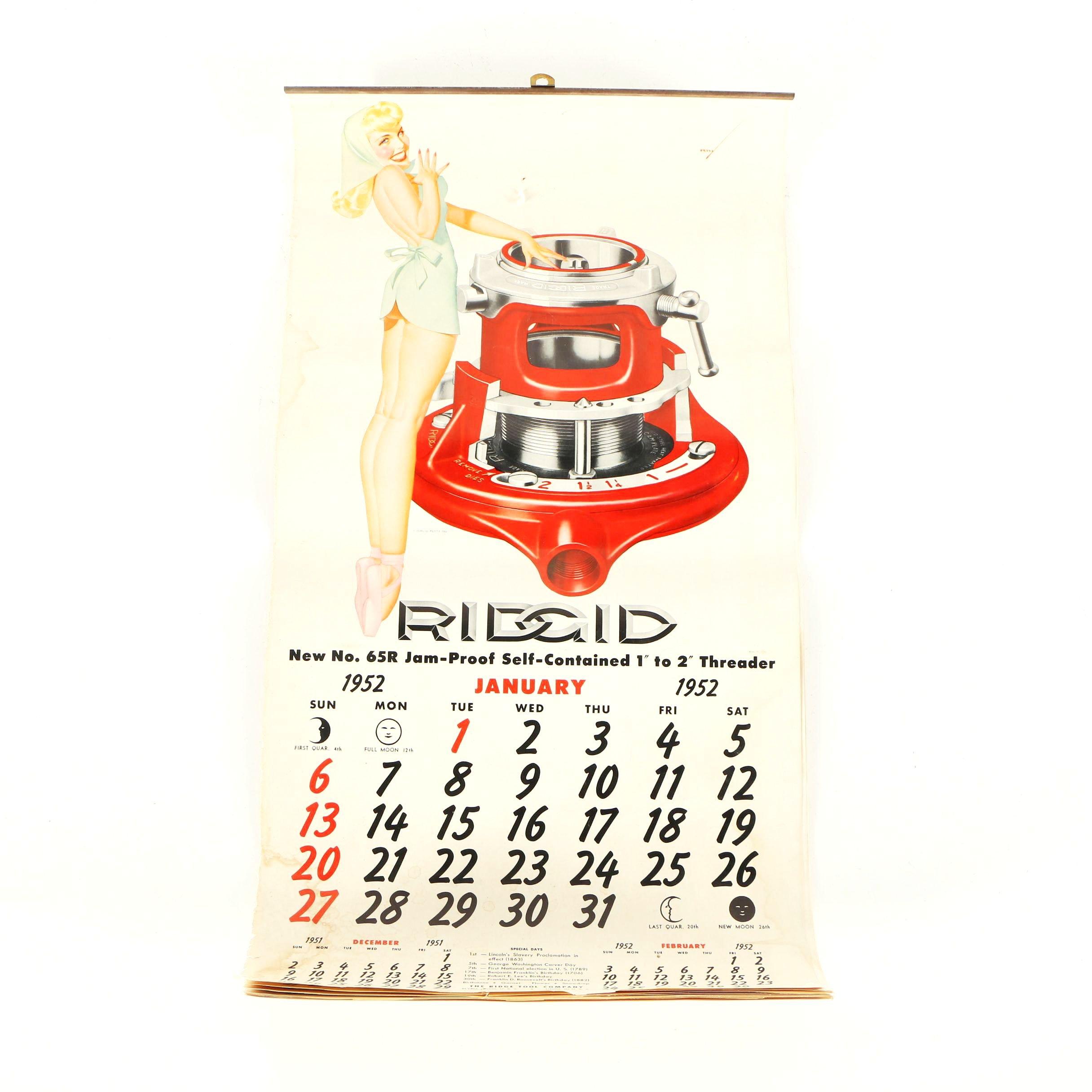 "1952 Ridgid Tool Calendar With ""Petty Girl"" Pin-Up Halftone Prints"